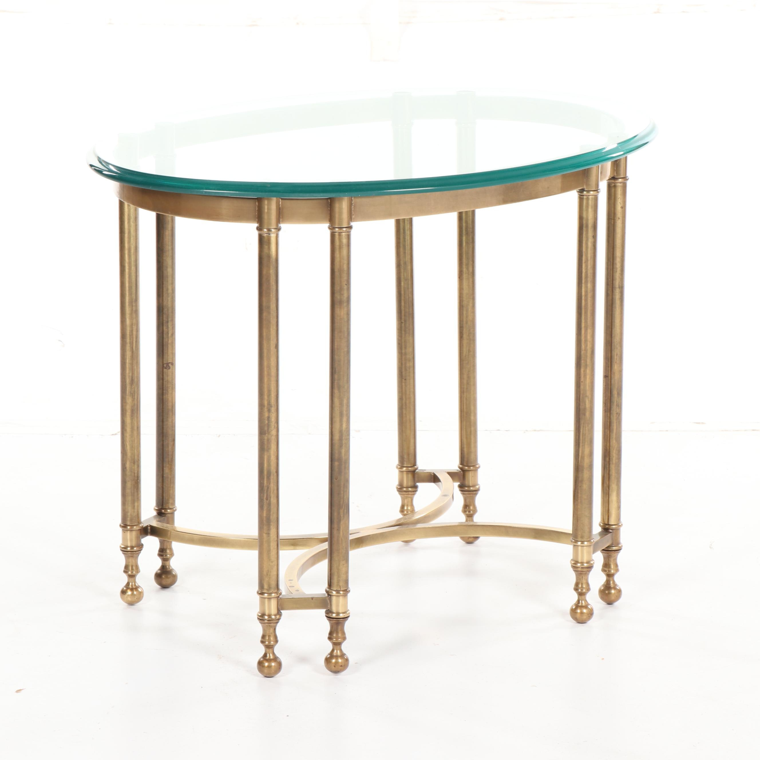 Brass and Glass End Table, 20th Century
