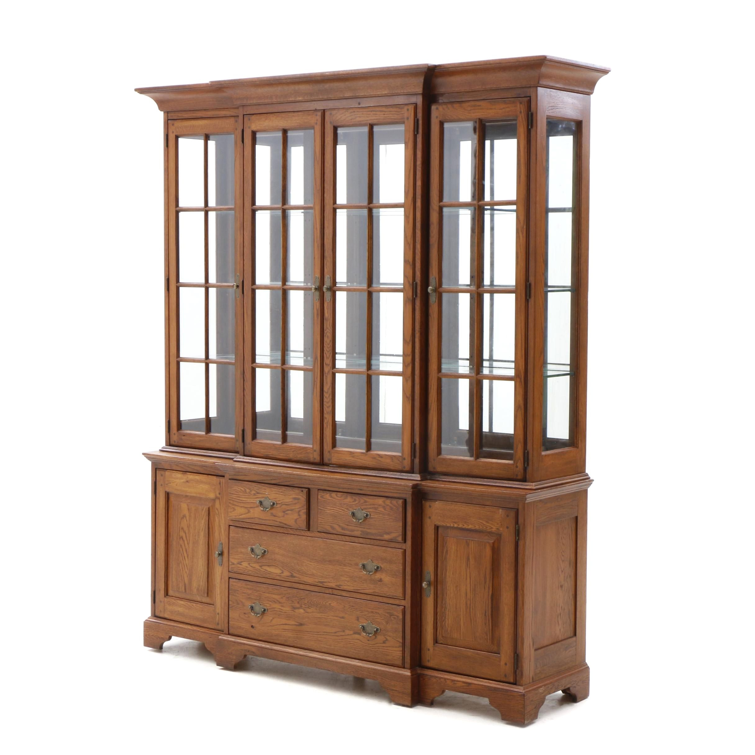 Two-Piece Illuminated Breakfront China Cabinet in Oak by Lineage