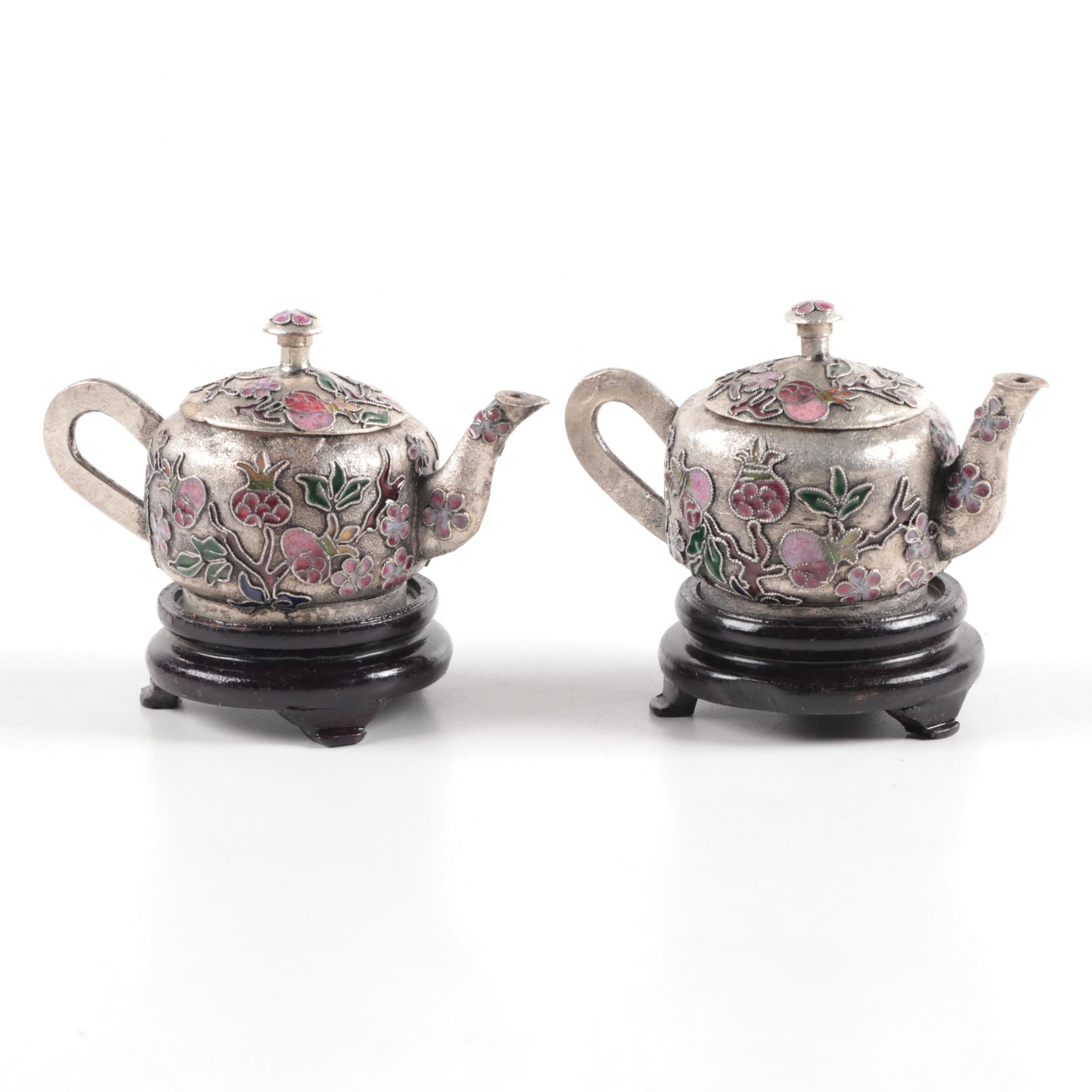 Chinese Miniature Cloisonné Teapot with Wooden Stand