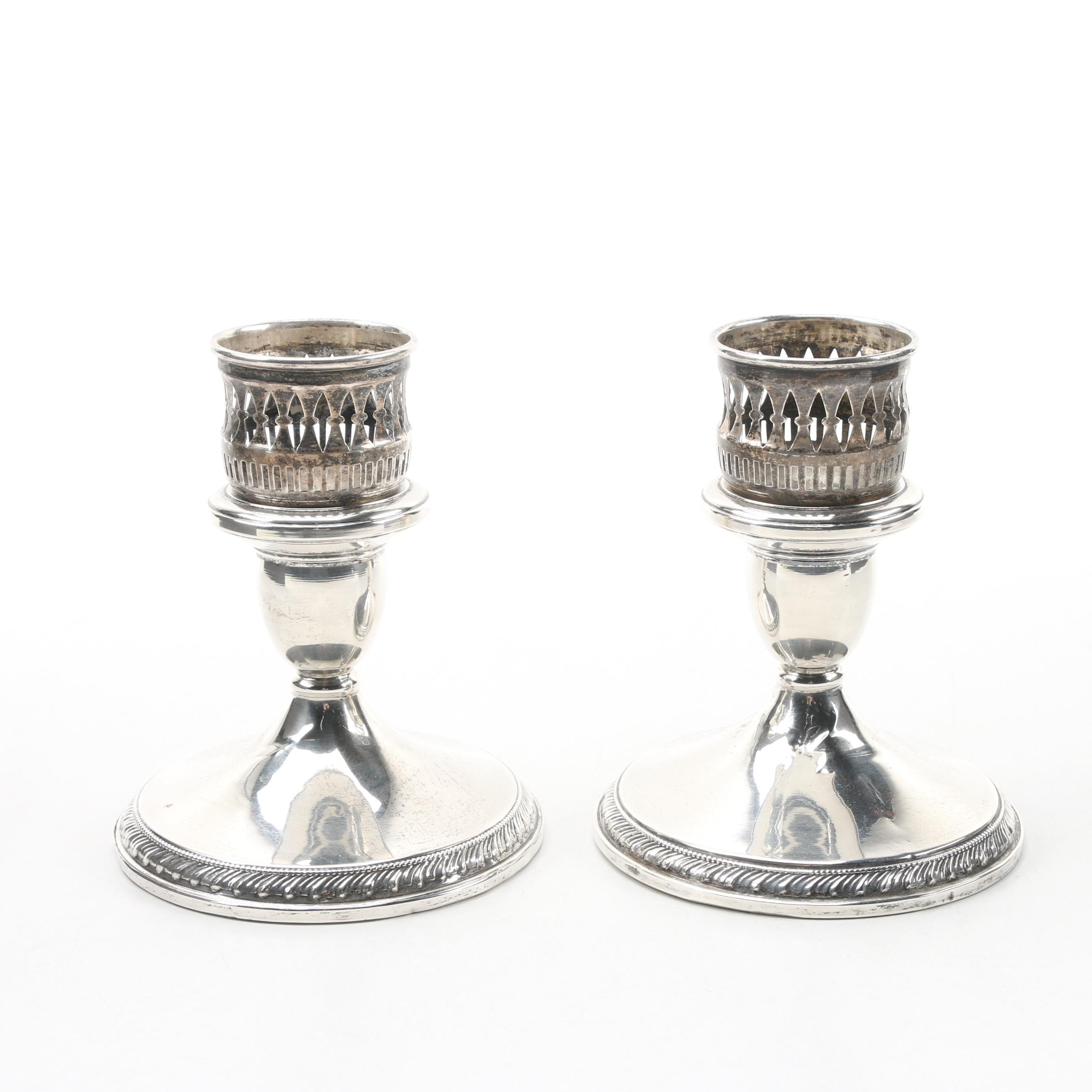 """Redlich & Co. """"Cartier"""" Weighted Sterling Candle Holders, Mid-Century"""