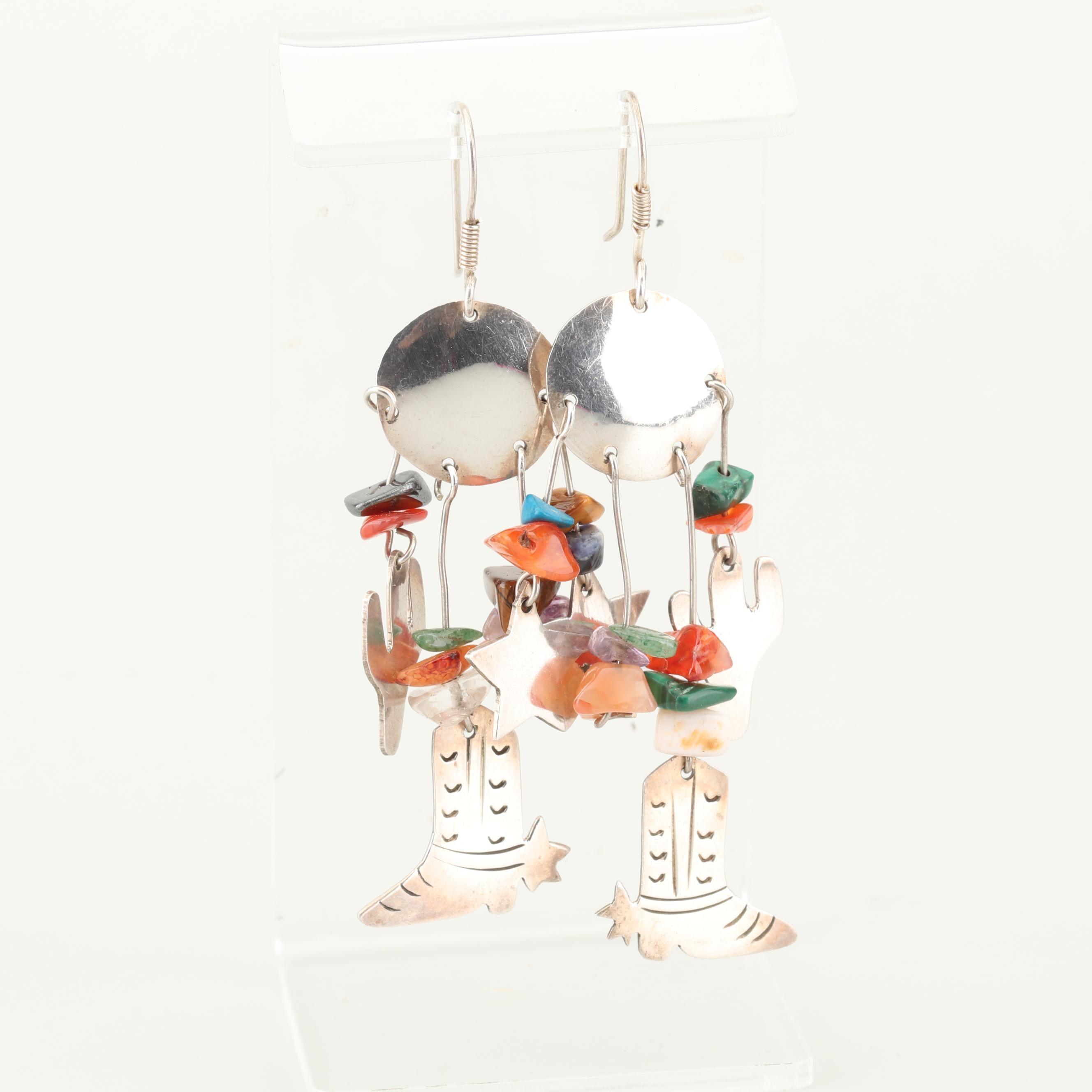 Sterling Silver Multi-Stone Dangle Earrings