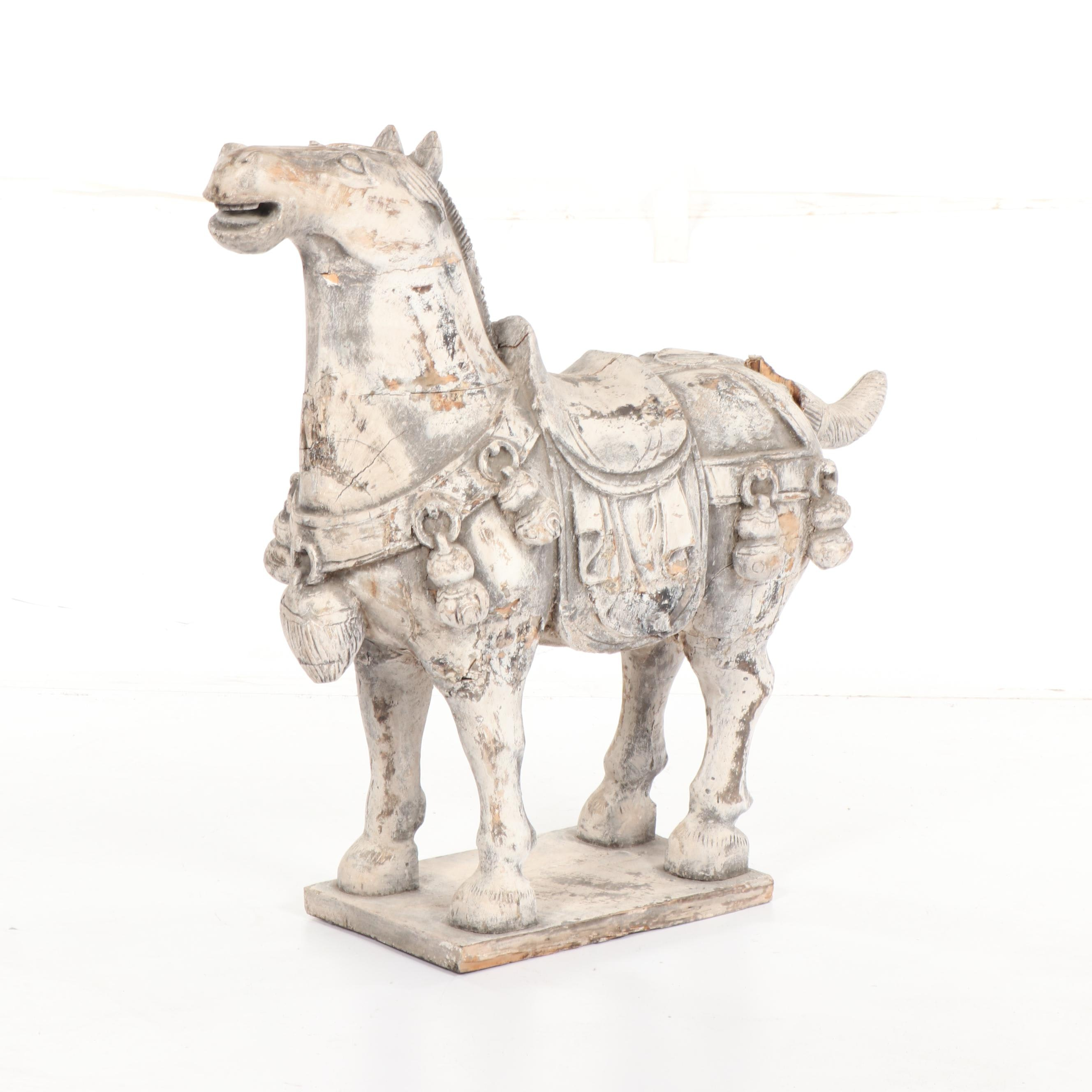 Chinese Carved Wood Horse