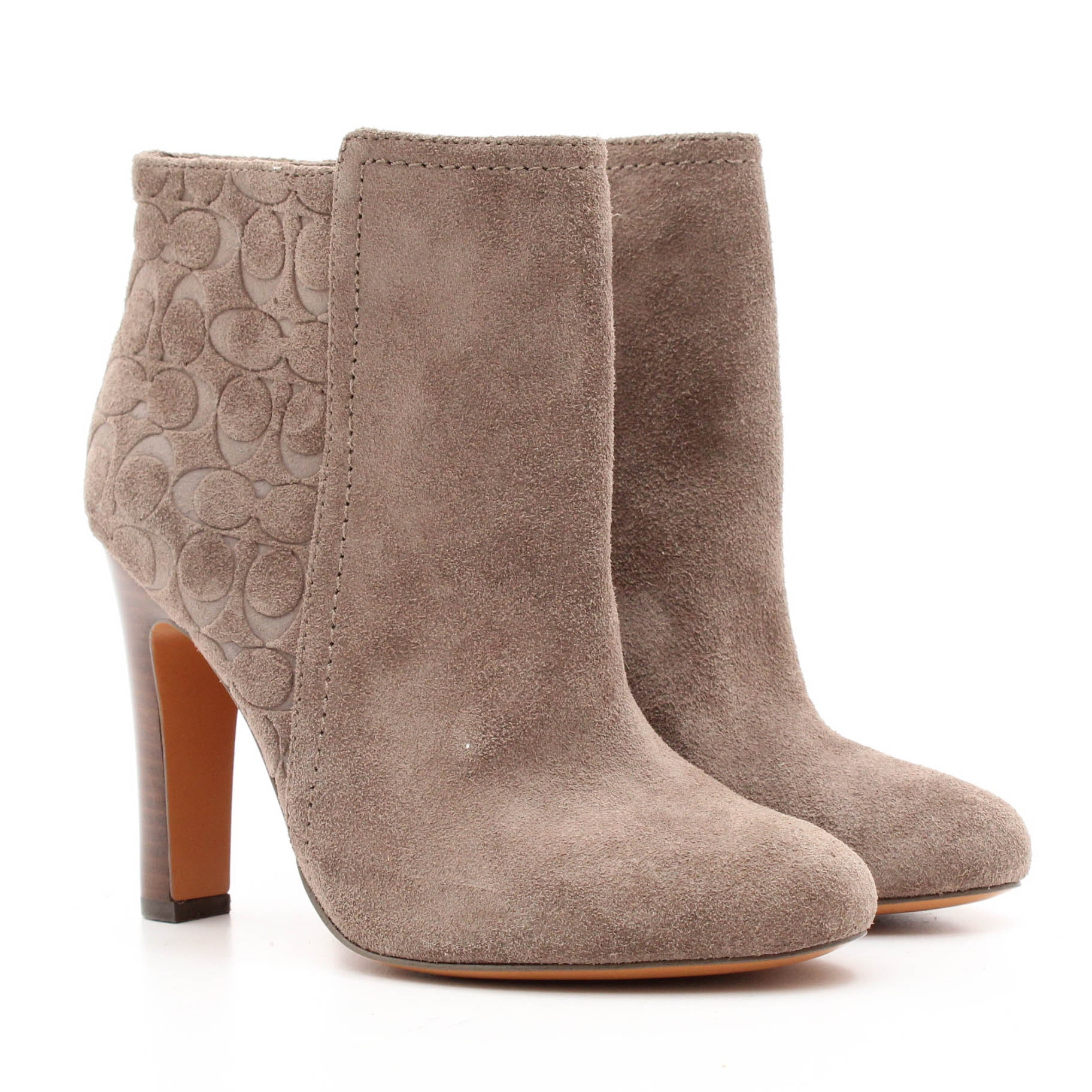 Coach Grey Suede Ankle Boots