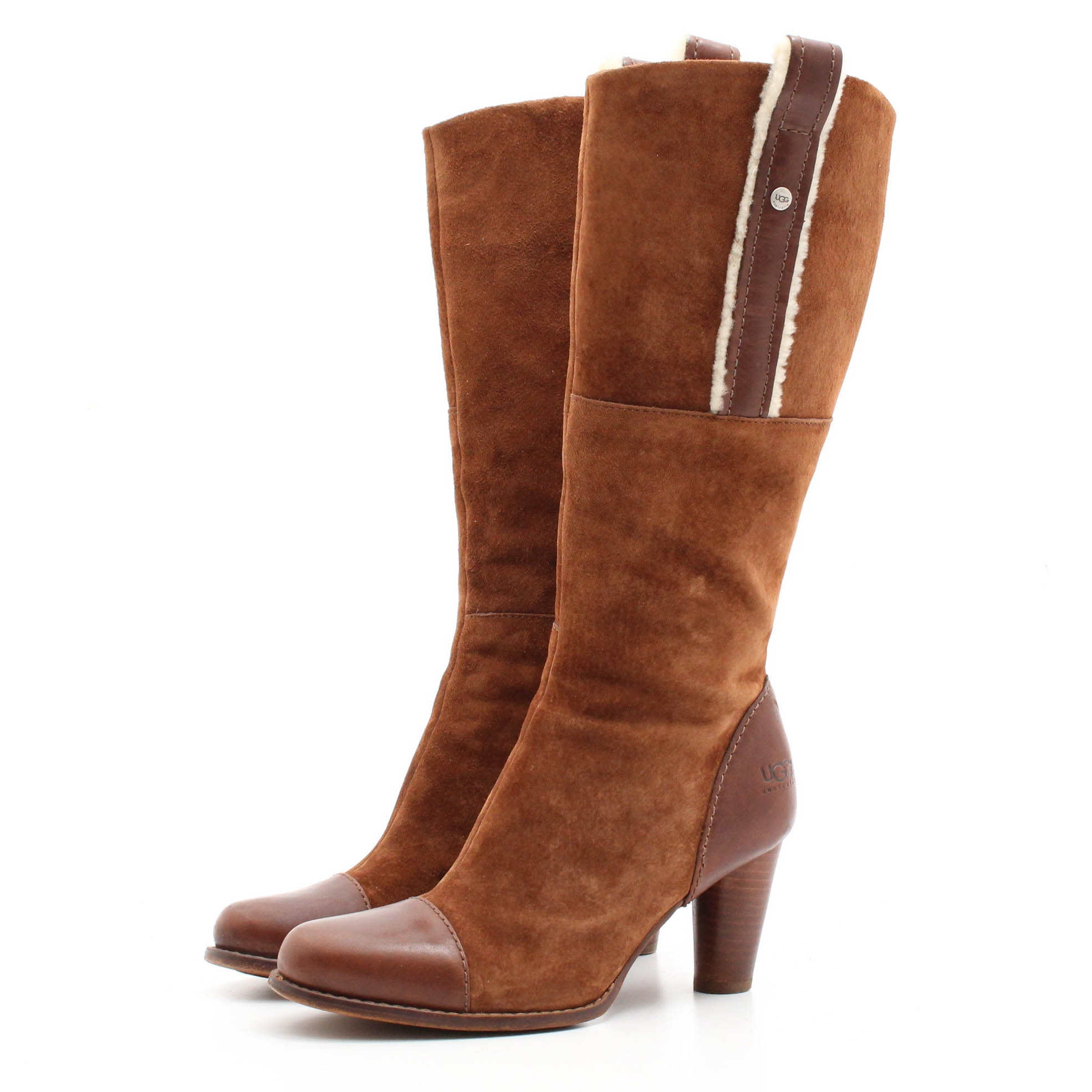 UGG Australia Brown Suede and Shearling Tall Boots