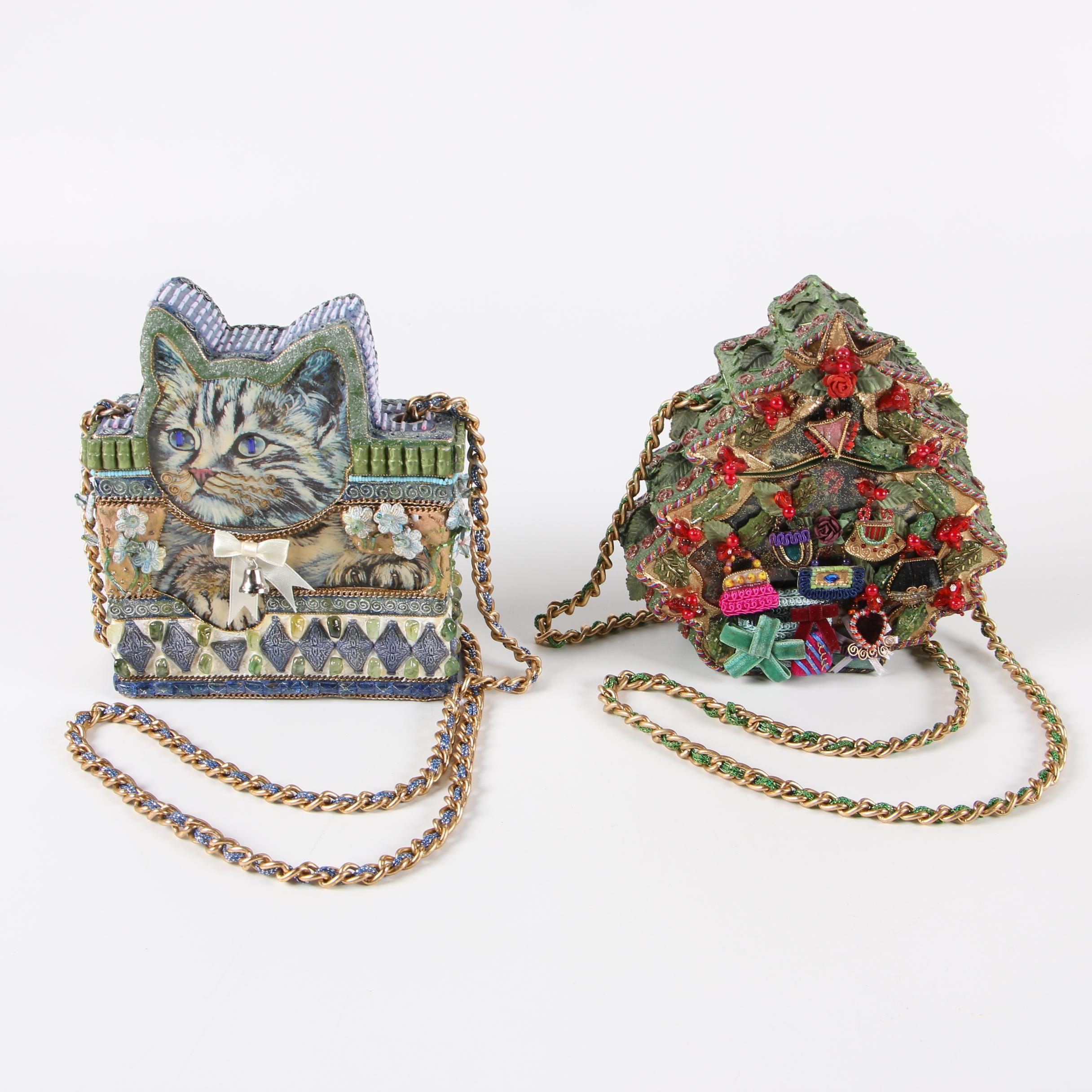 1990s Mary Frances Cat and Christmas Tree Themed Decorated Box Handbags