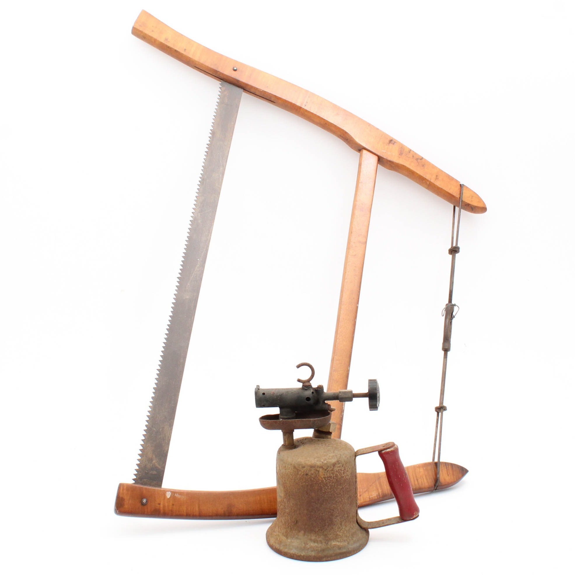 Vintage Bow Saw and Brass Blow Torch