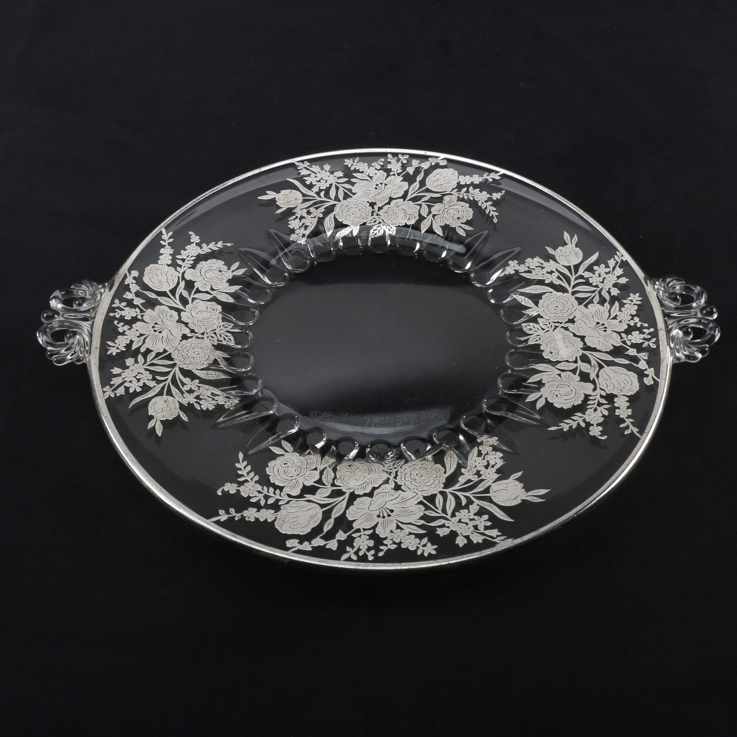 Sterling Silver Overlaid Glass Dessert Tray, Early 20th Century