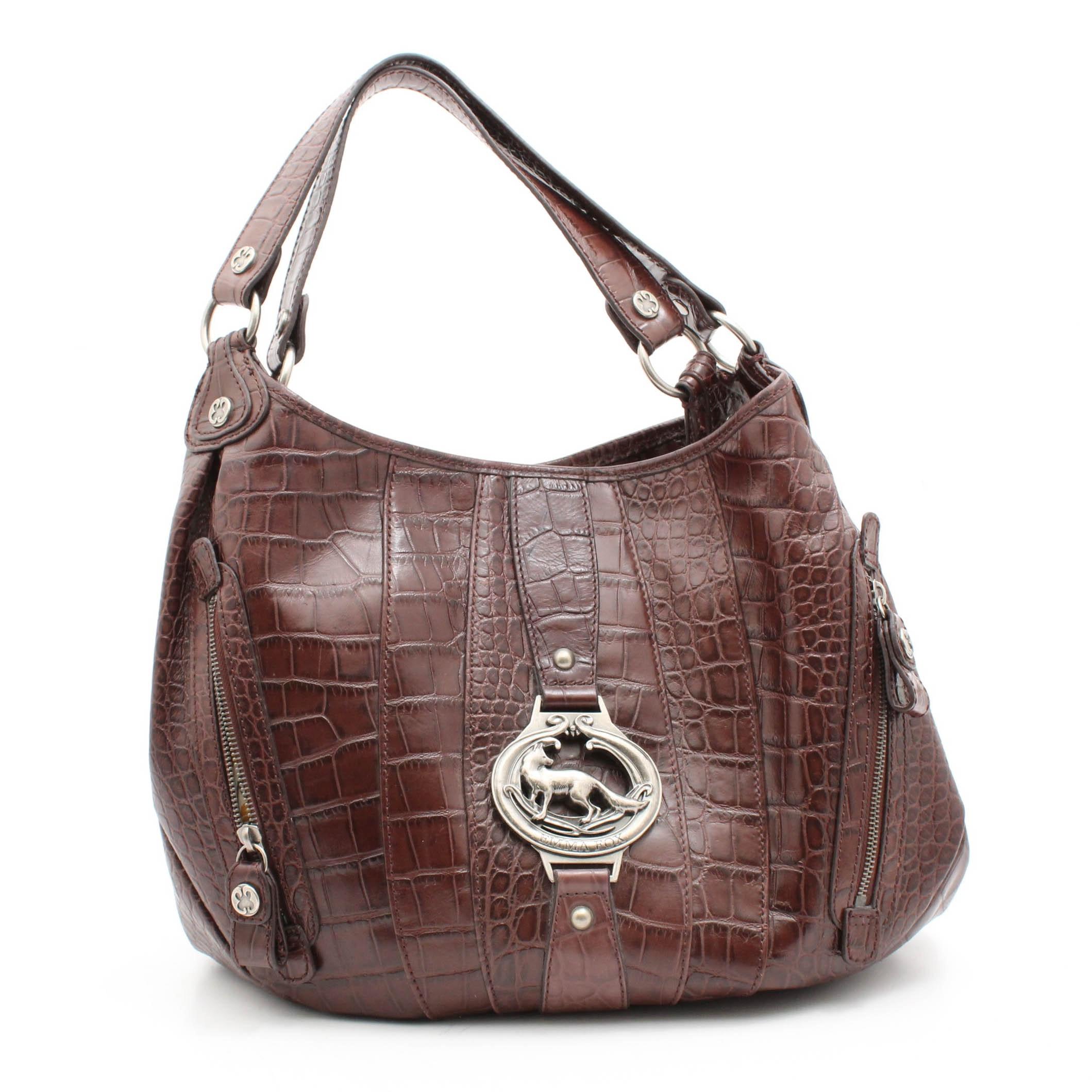 Emma Fox Croc Embossed Brown Leather Shoulder Bag