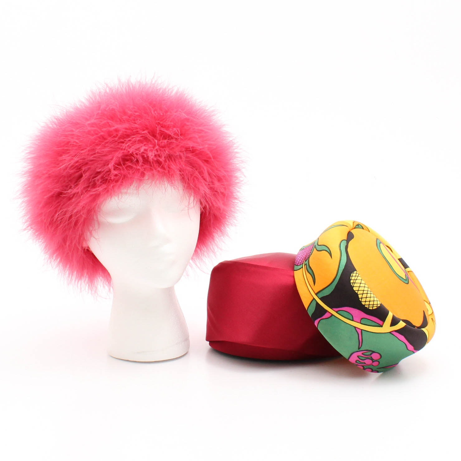 Vintage Mr. John Classic Mod Hat, Mr. John Red Pillbox Hat and Pink Ostrich Hat