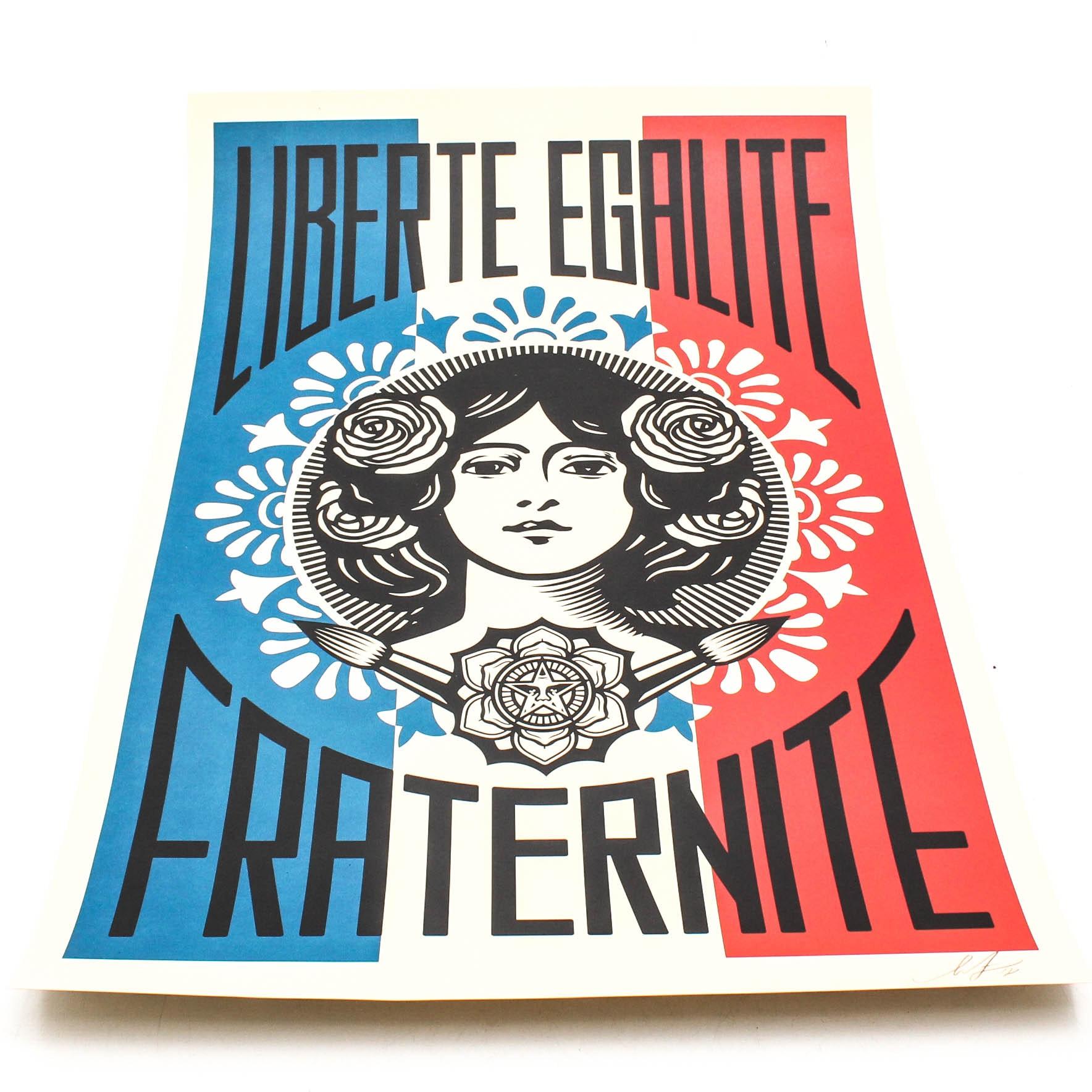"""Shepard Fairey Offset Poster """"Liberté, Egalité, Fraternité"""""""