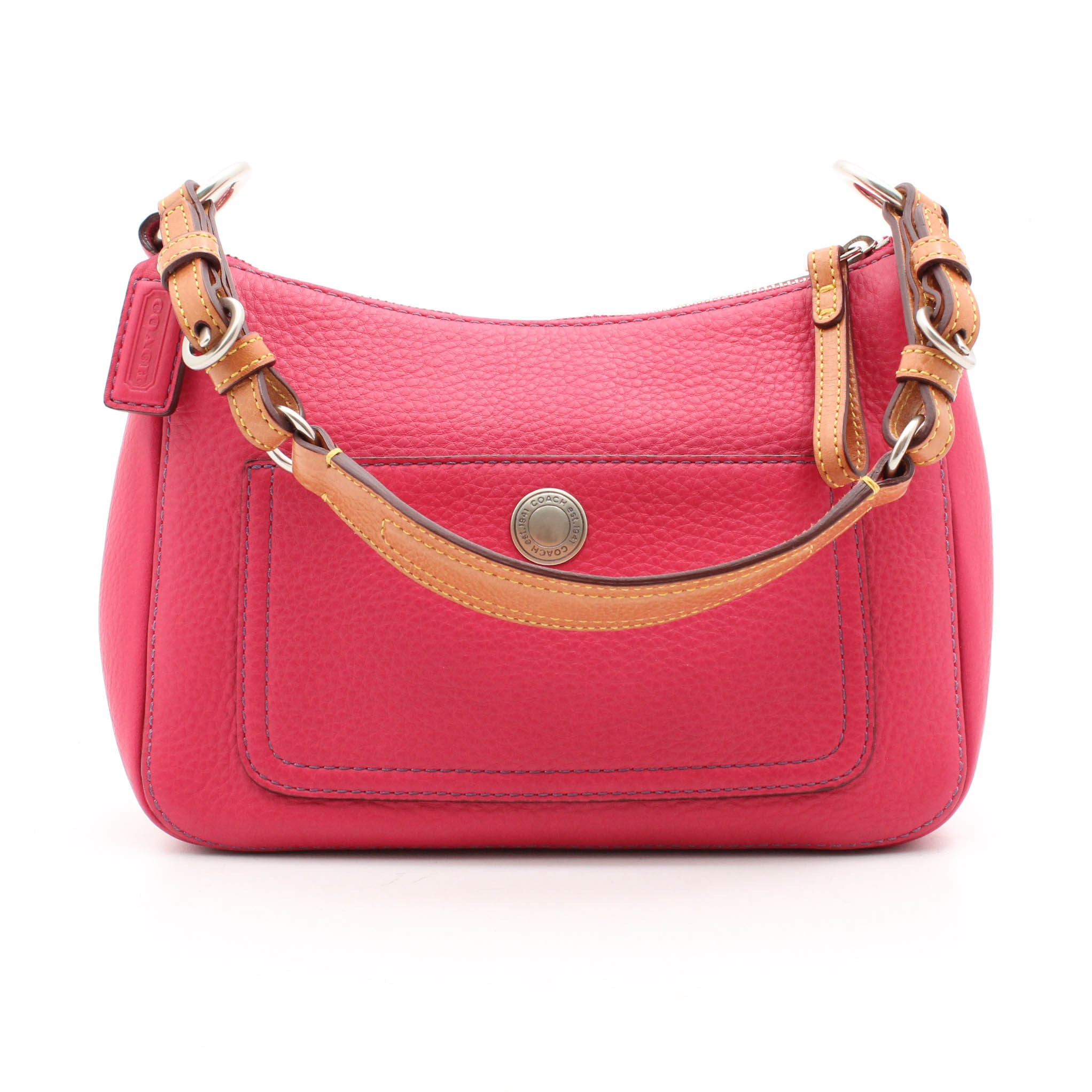 Coach Pink Pebbled and Tan Leather Shoulder Bag