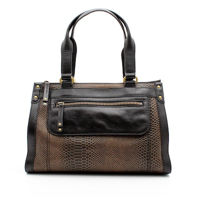 Fossil Gold And Black Snakeskin Print Leather Handbag