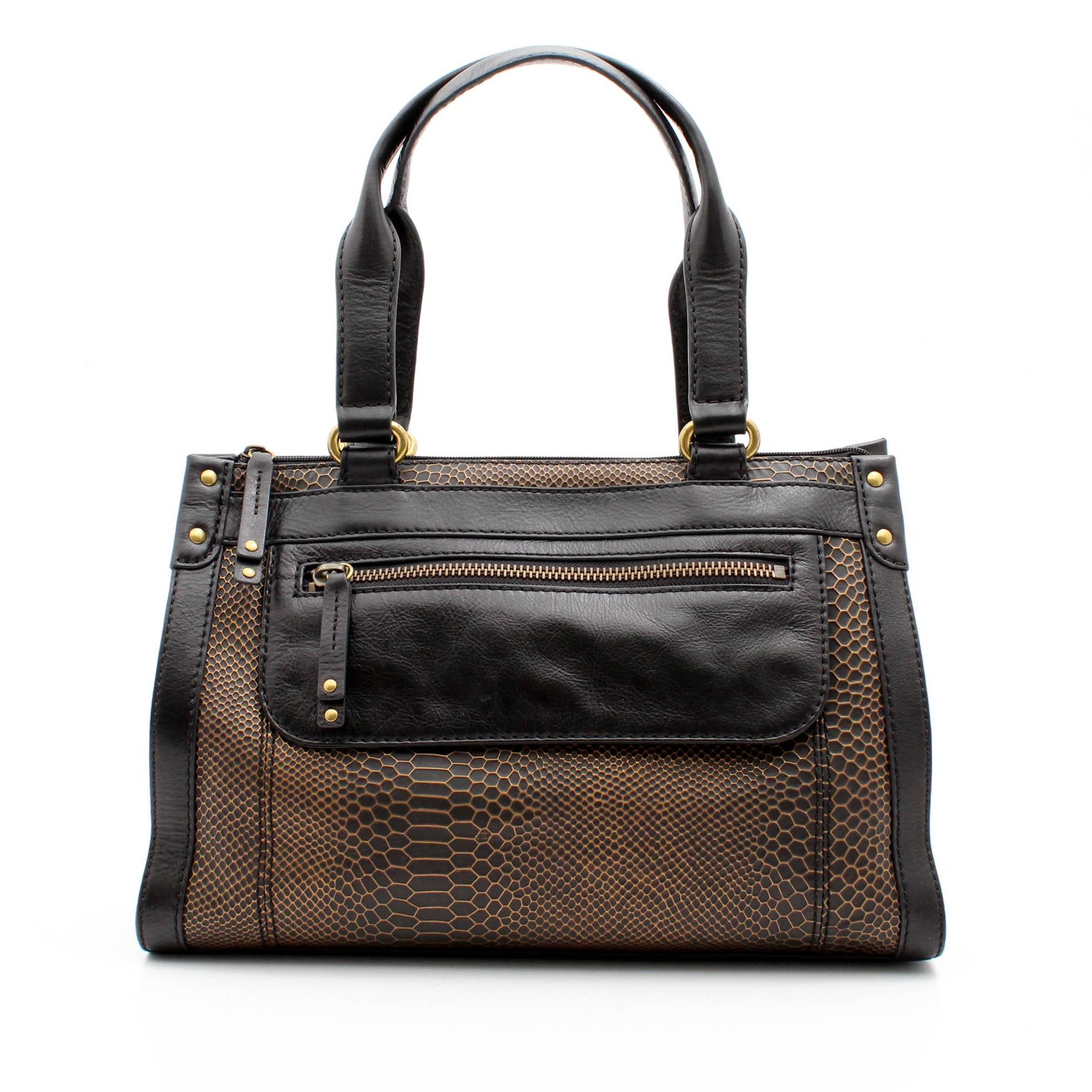Fossil Gold and Black Snakeskin Print Leather Handbag