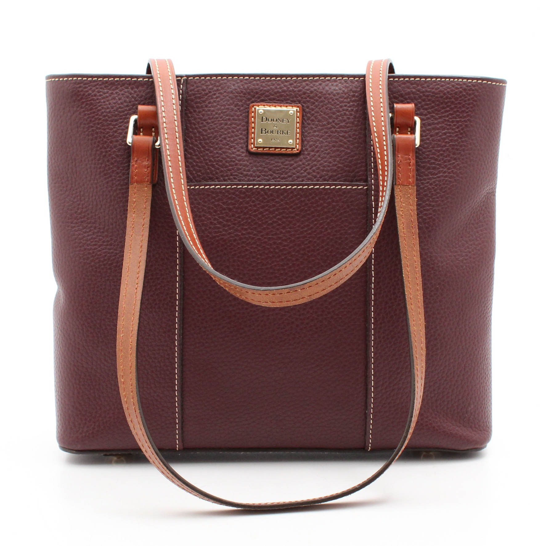 Dooney & Bourke Burgundy Pebbled and Cognac Leather Tote