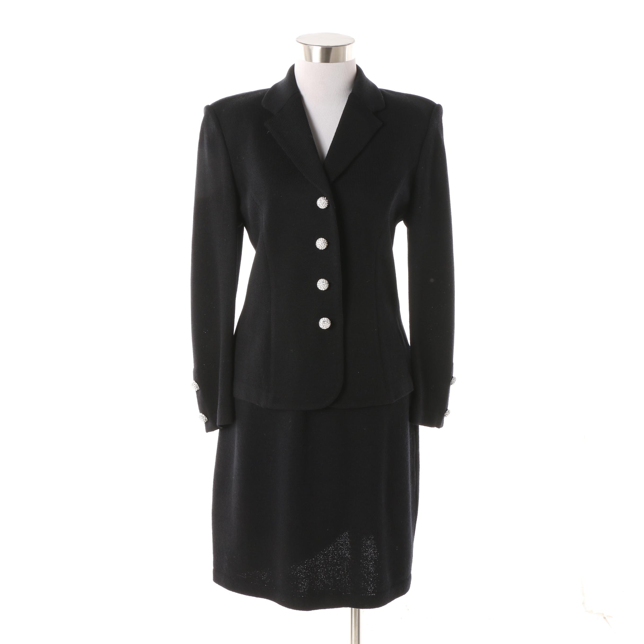 St. John Basics Black Knit Skirt Suit featuring Rhinestone Buttons