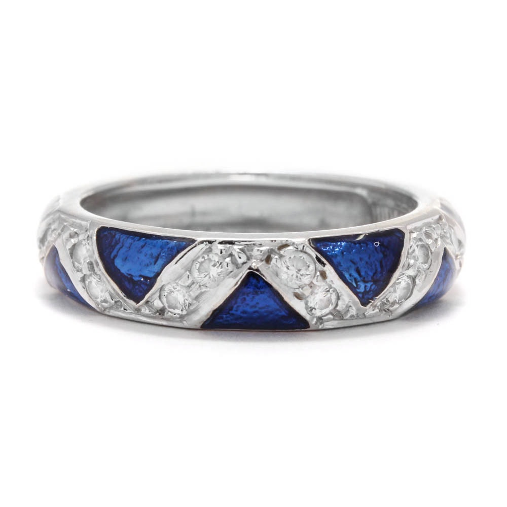 Hidalgo 18K White Gold Diamond and Enamel Band