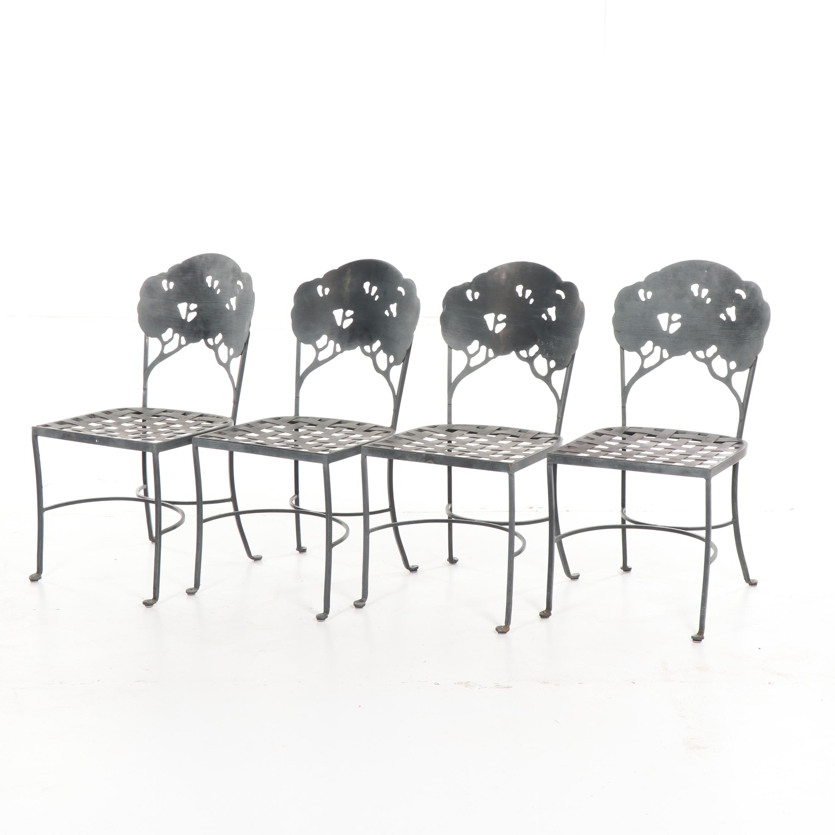 Metal Patio Chairs with Tree Motif, 21st Century