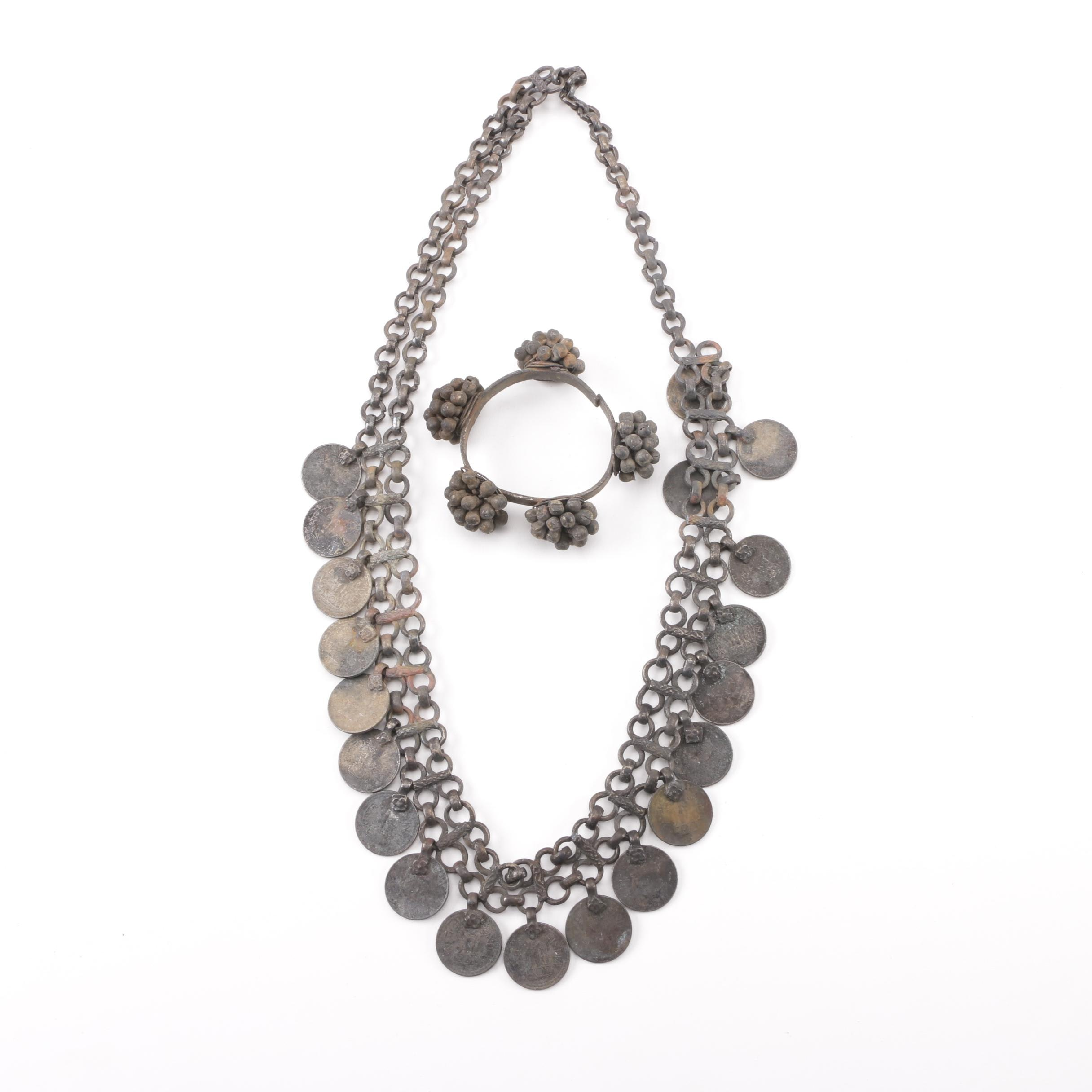 Metal Singing Bell Bracelet and Necklace with Indian 1-Rupee Nickle Coins