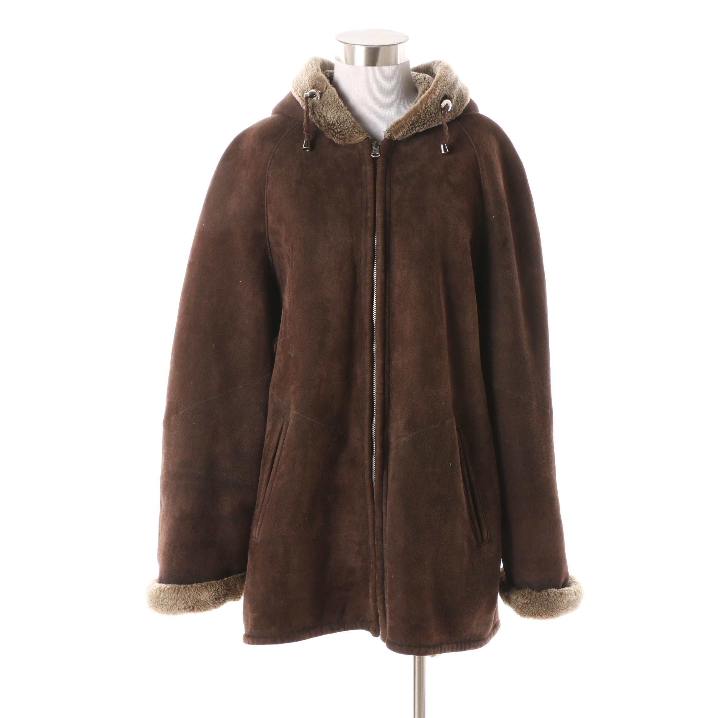 Women's Orion Leather Hooded Shearling Zip-Front Coat