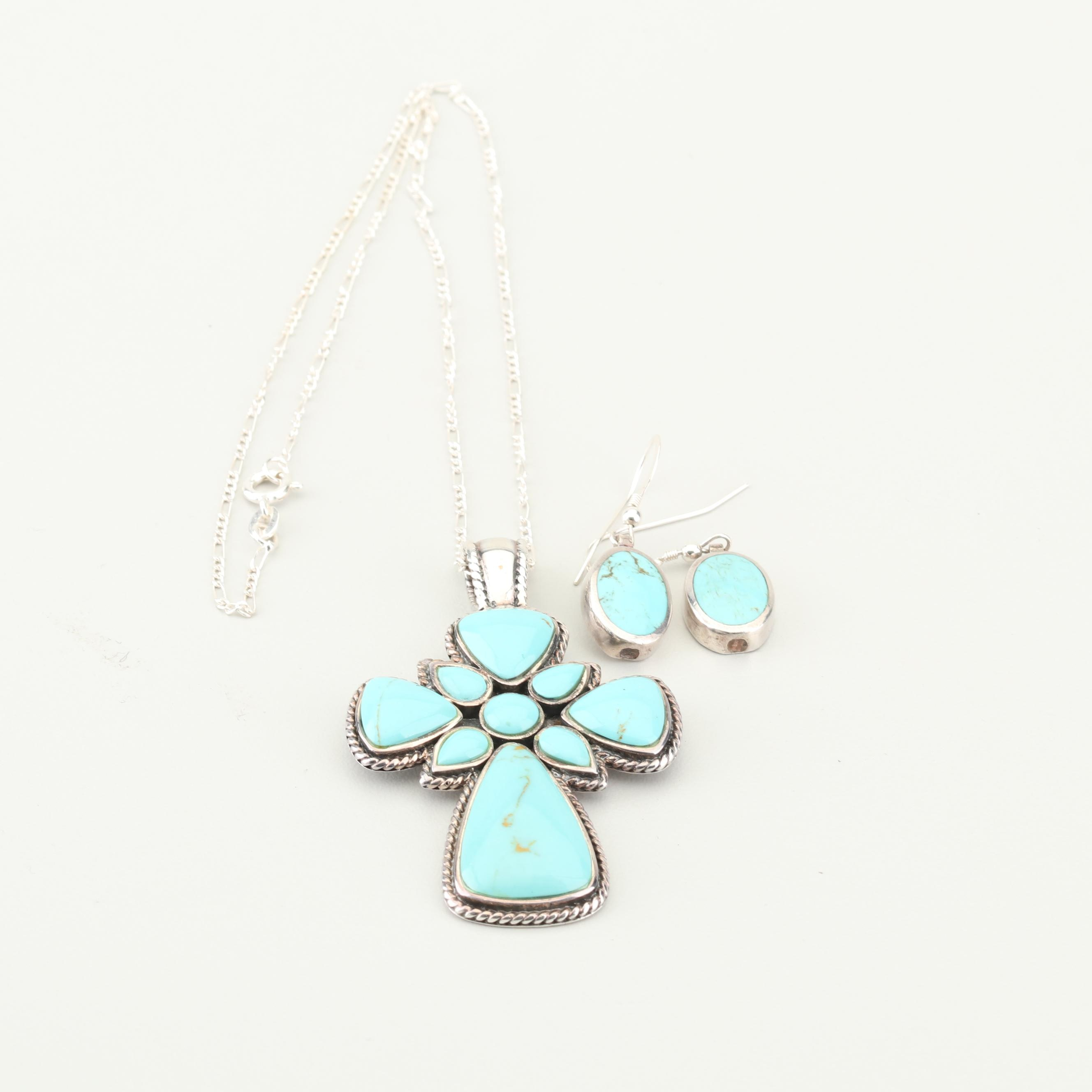 Sterling Silver Turquoise Pendant Necklace and Earrings
