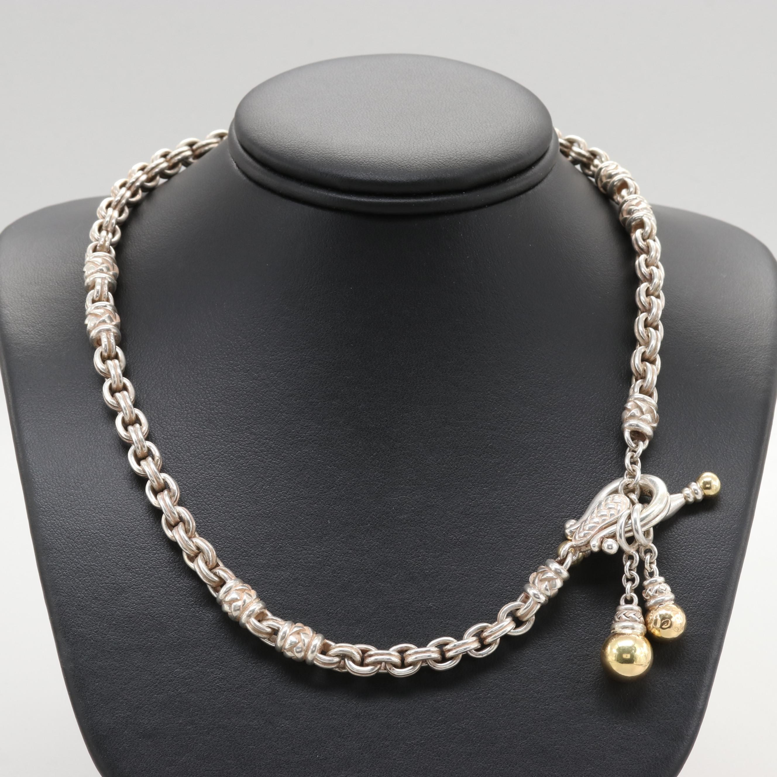 Scott Kay Sterling Silver Necklace with 18K Yellow Gold Accents