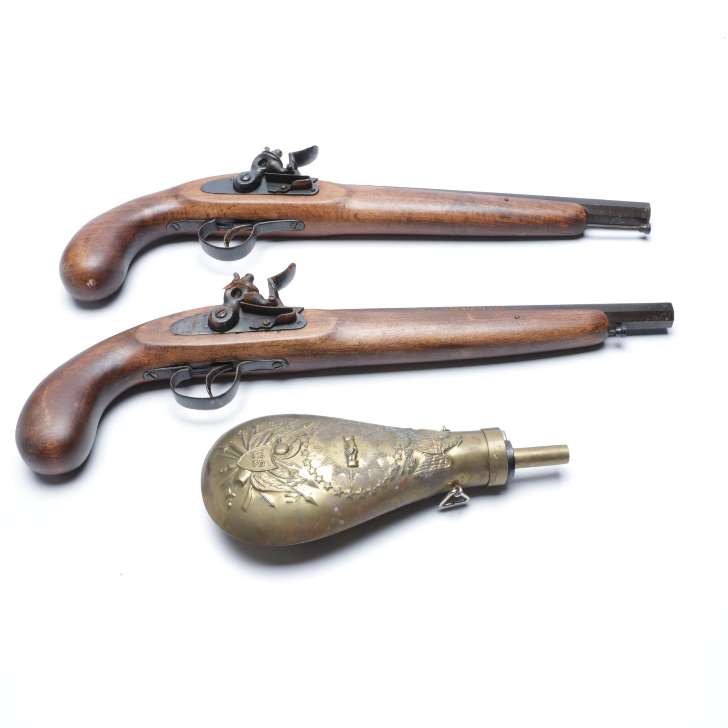 Pair of Reproduction Flintlock Pistols with Powder Flask