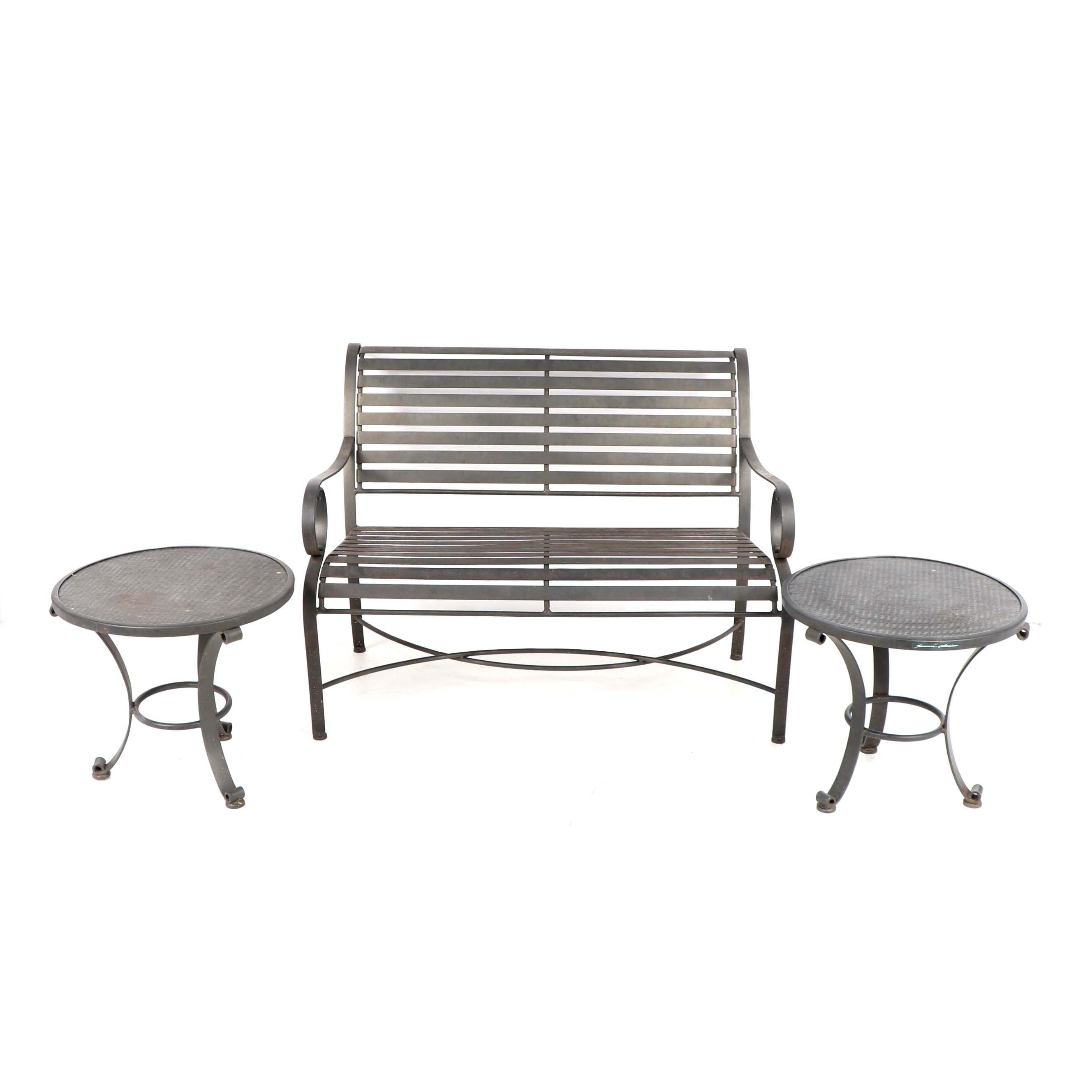 """Summer Classics"" Metal Patio Bench and Side Tables"