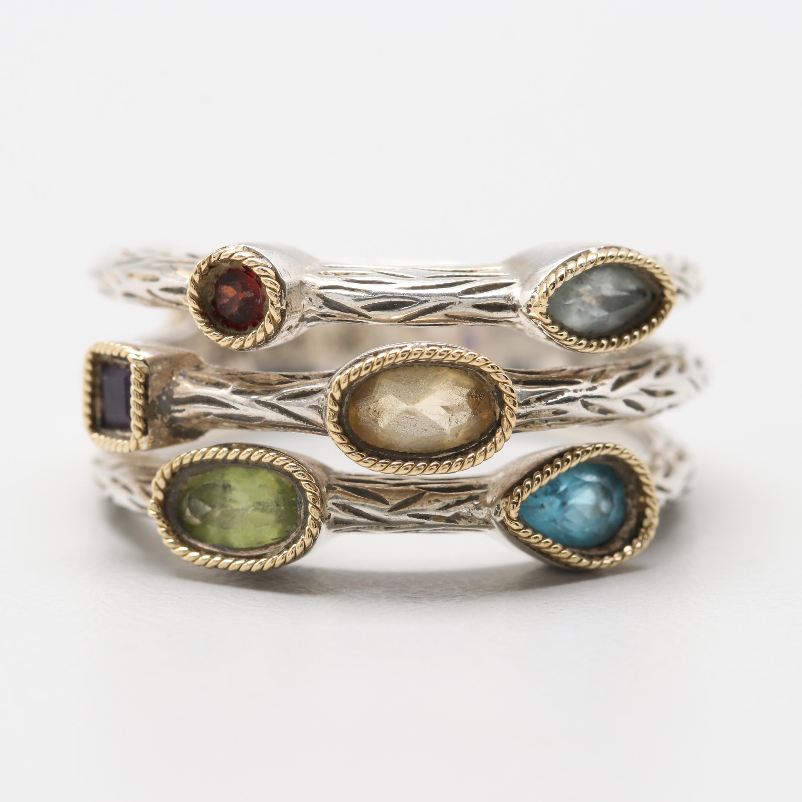 Effy Sterling Silver Aquamarine and Gemstone Ring with 18K Yellow Gold Accents