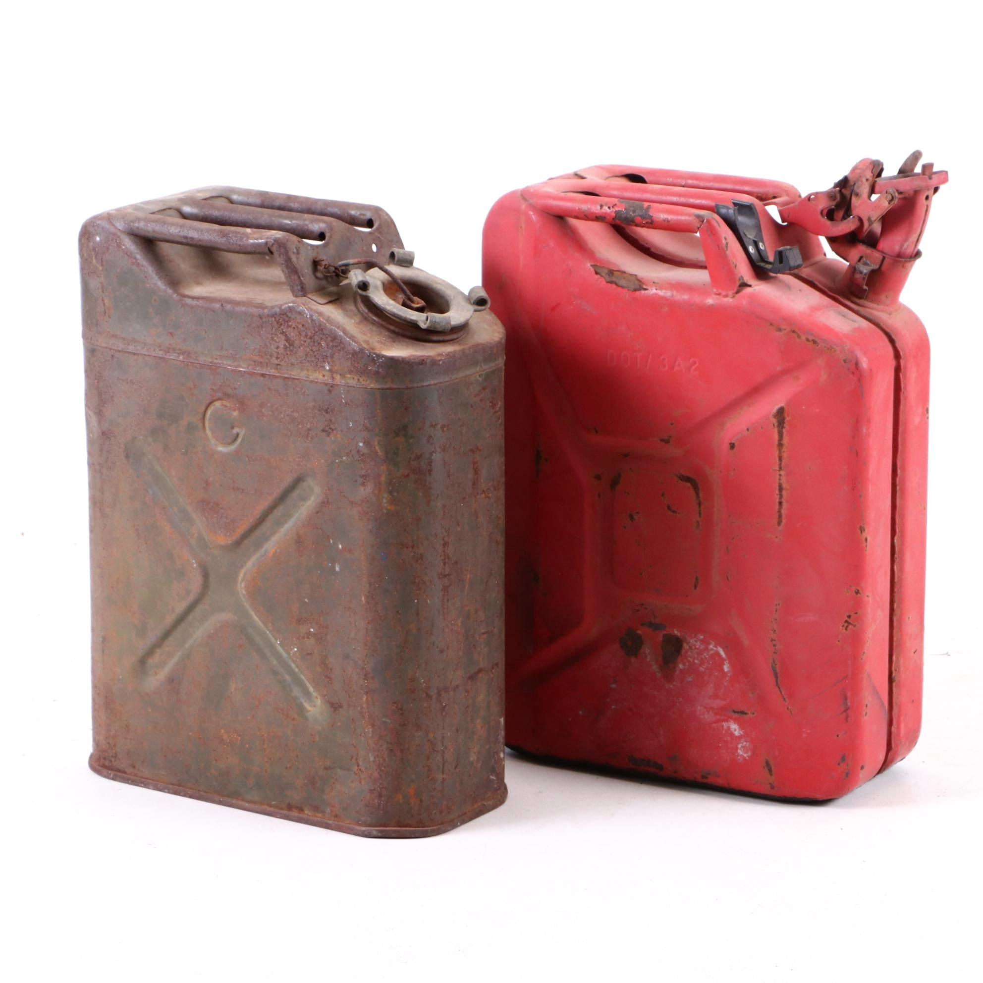 """Vintage Military Jeep """"Jerry"""" Style Gas Cans"""