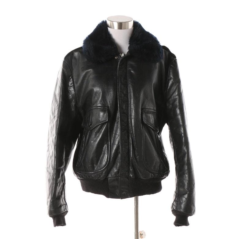 8ed217bd697f Men s Vintage Black Leather and Blue Faux Fur Trim Bomber Jacket   EBTH