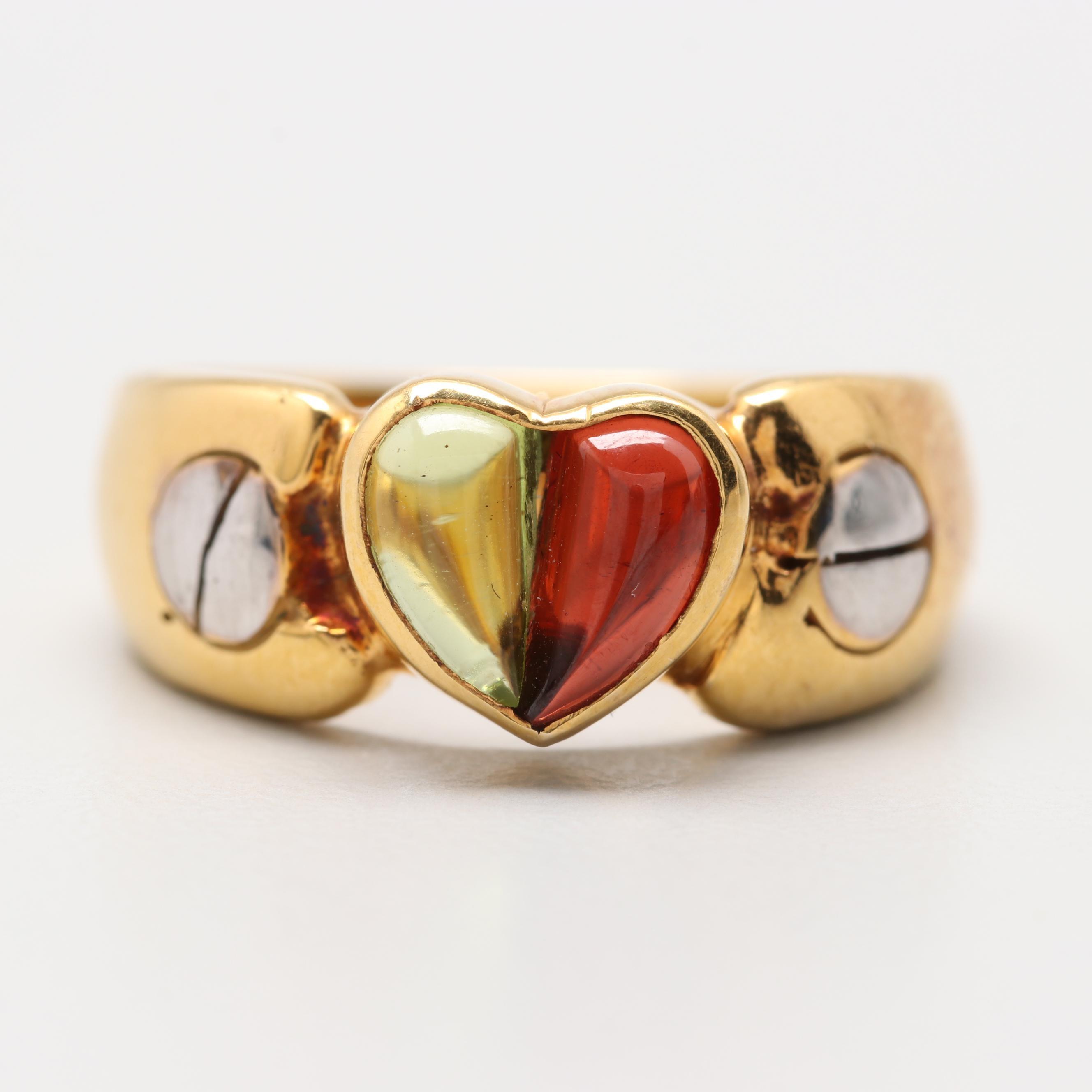 14K Yellow Gold Peridot and Garnet Heart Ring