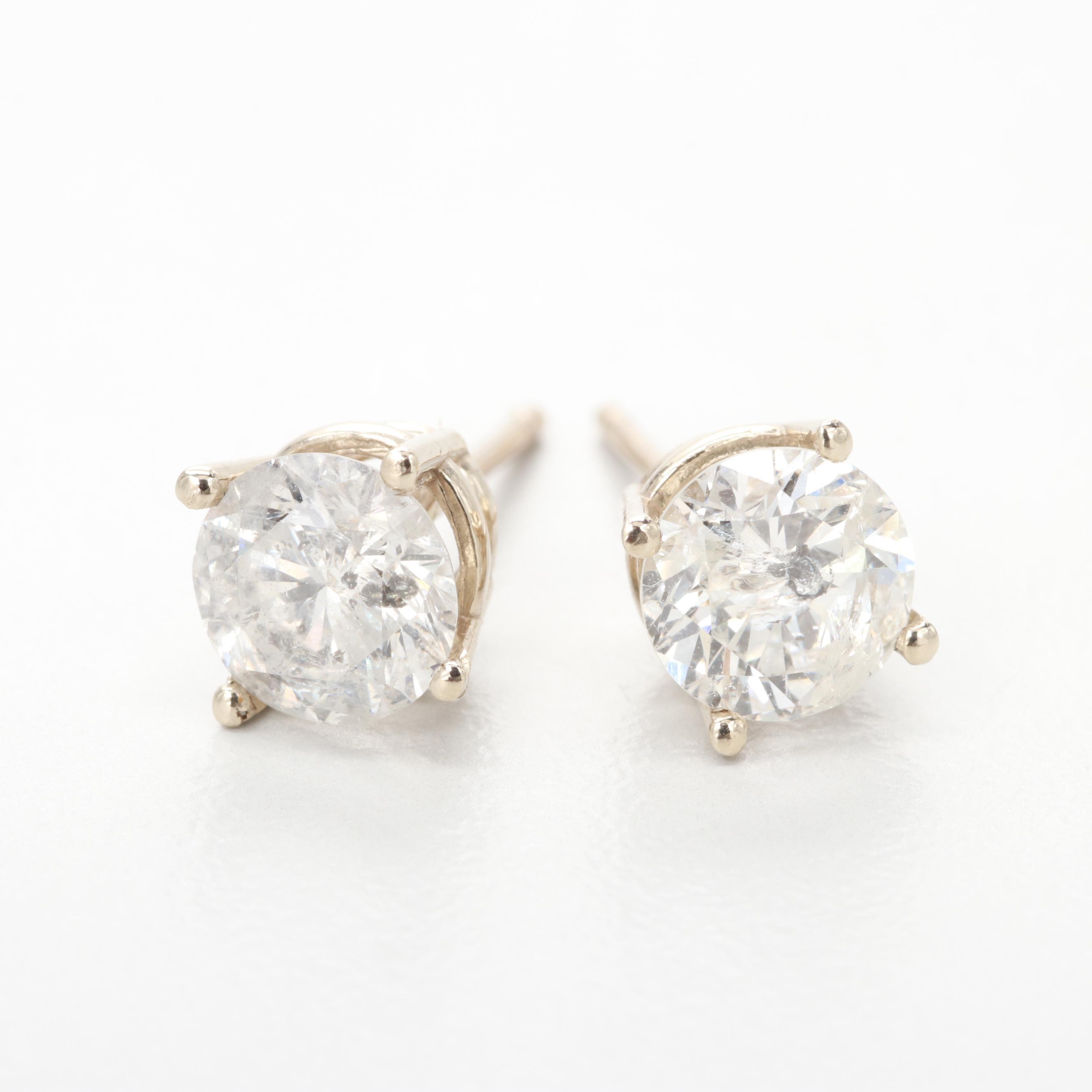 14K White Gold 1.60 CTW Diamond Stud Earrings