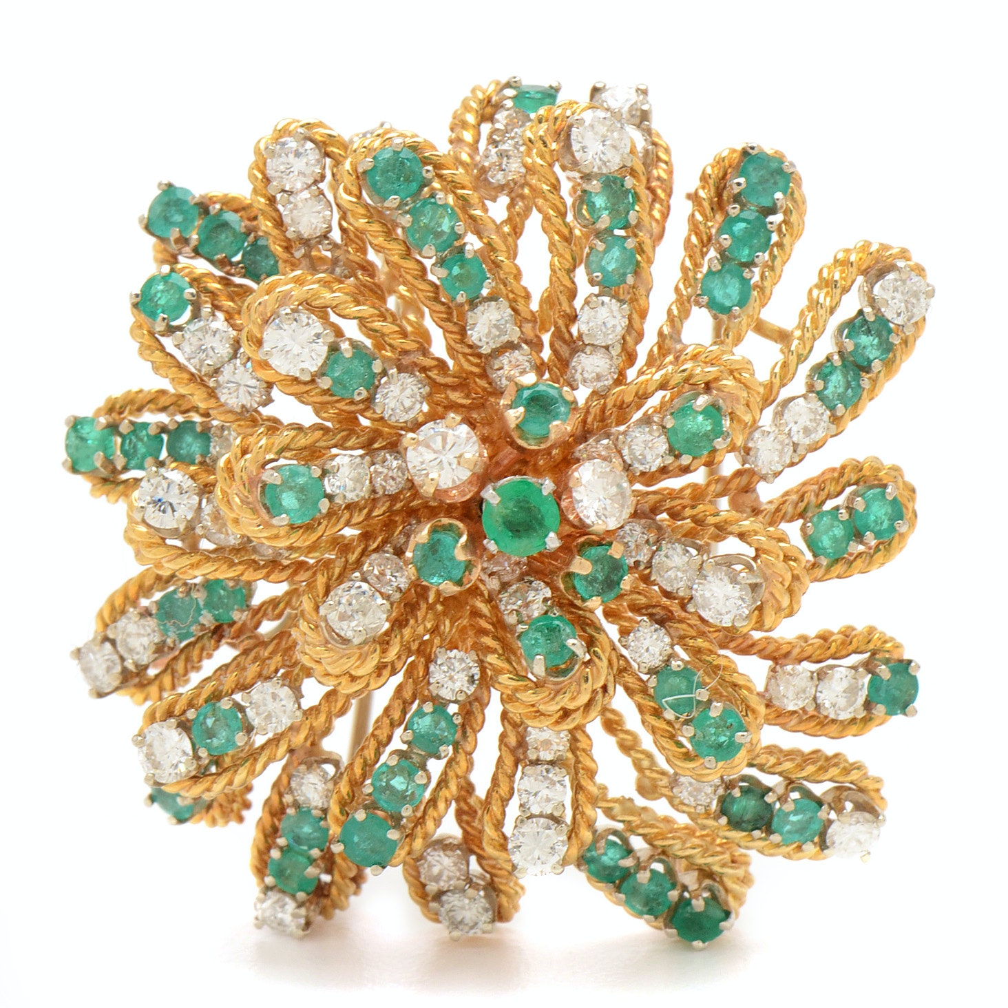 Circa 1970s 18K Yellow Gold 3.50 CTW Diamond and Emerald Pinwheel Brooch