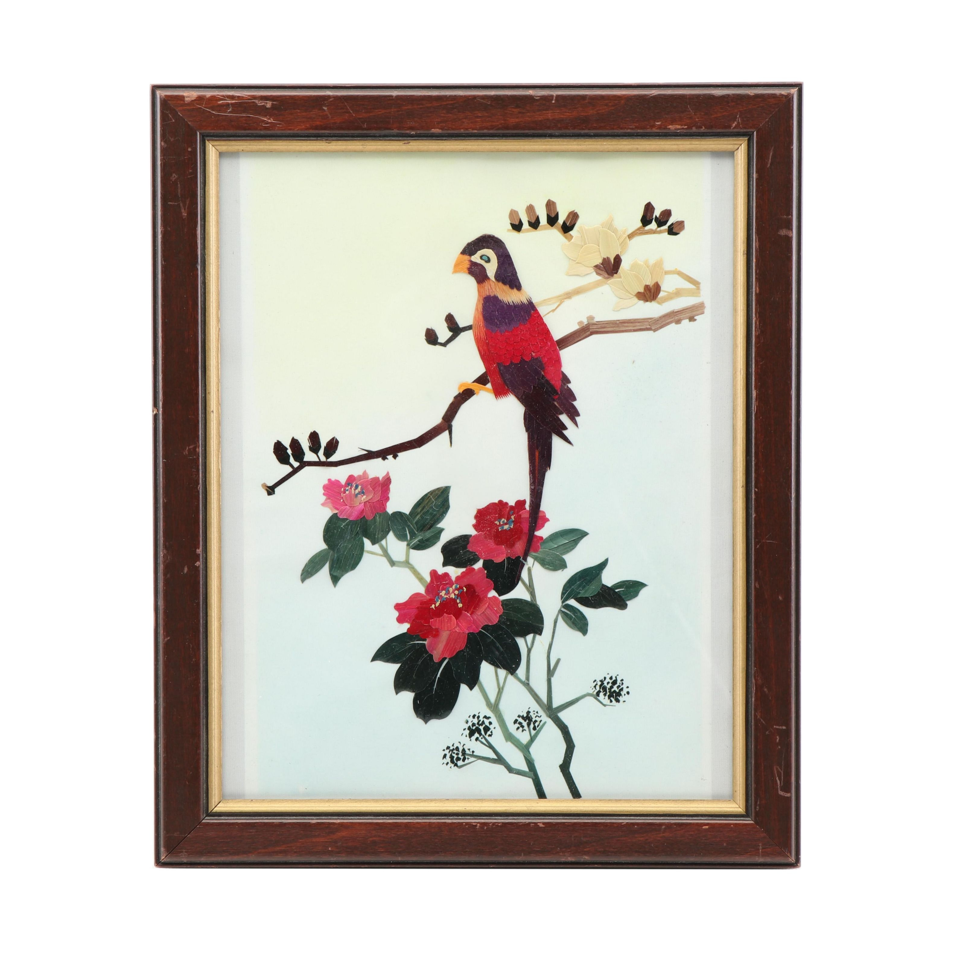 Mixed Media Textile of Bird on Branch