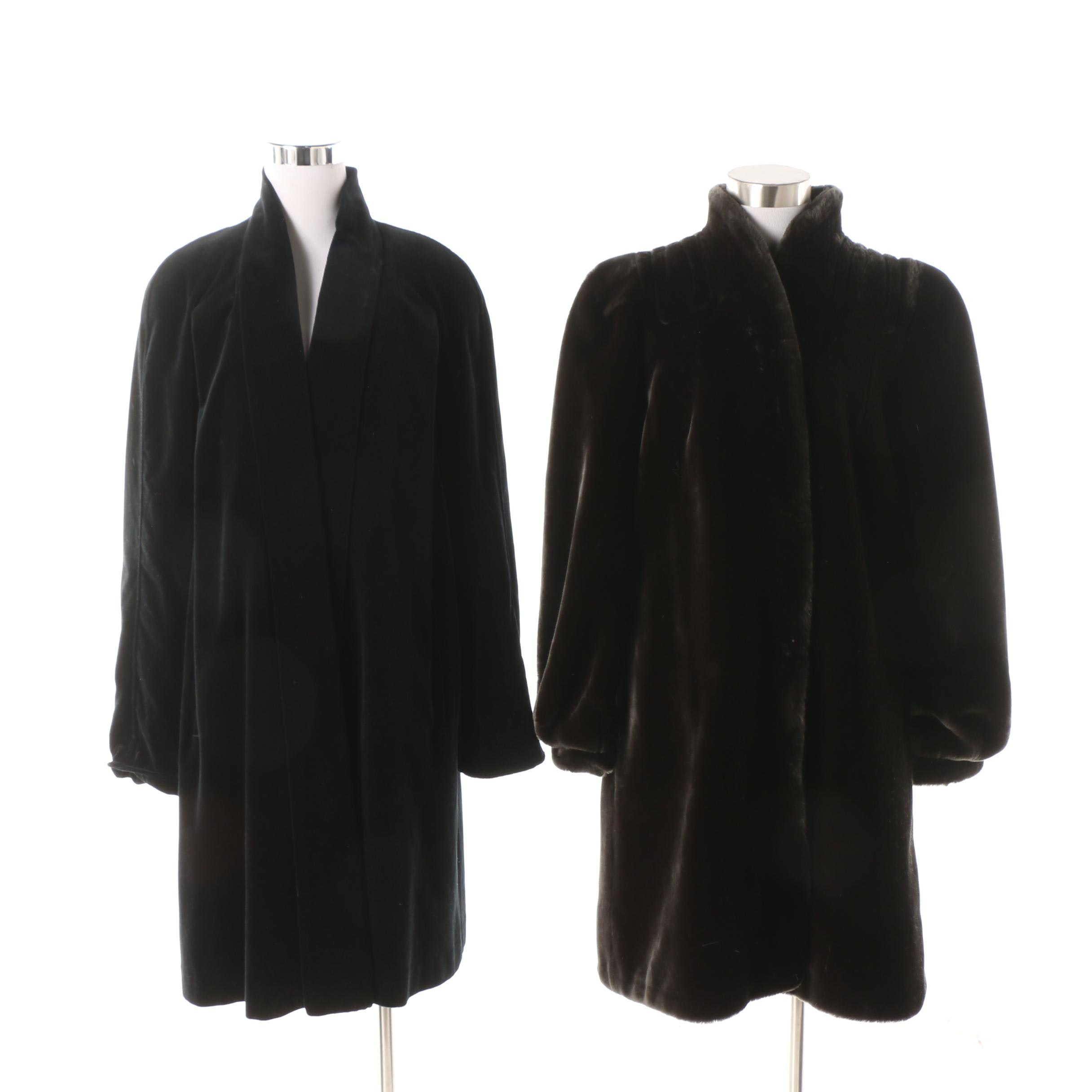 Women's 1990s Faux Fur Coat and Black Velvet Jacket