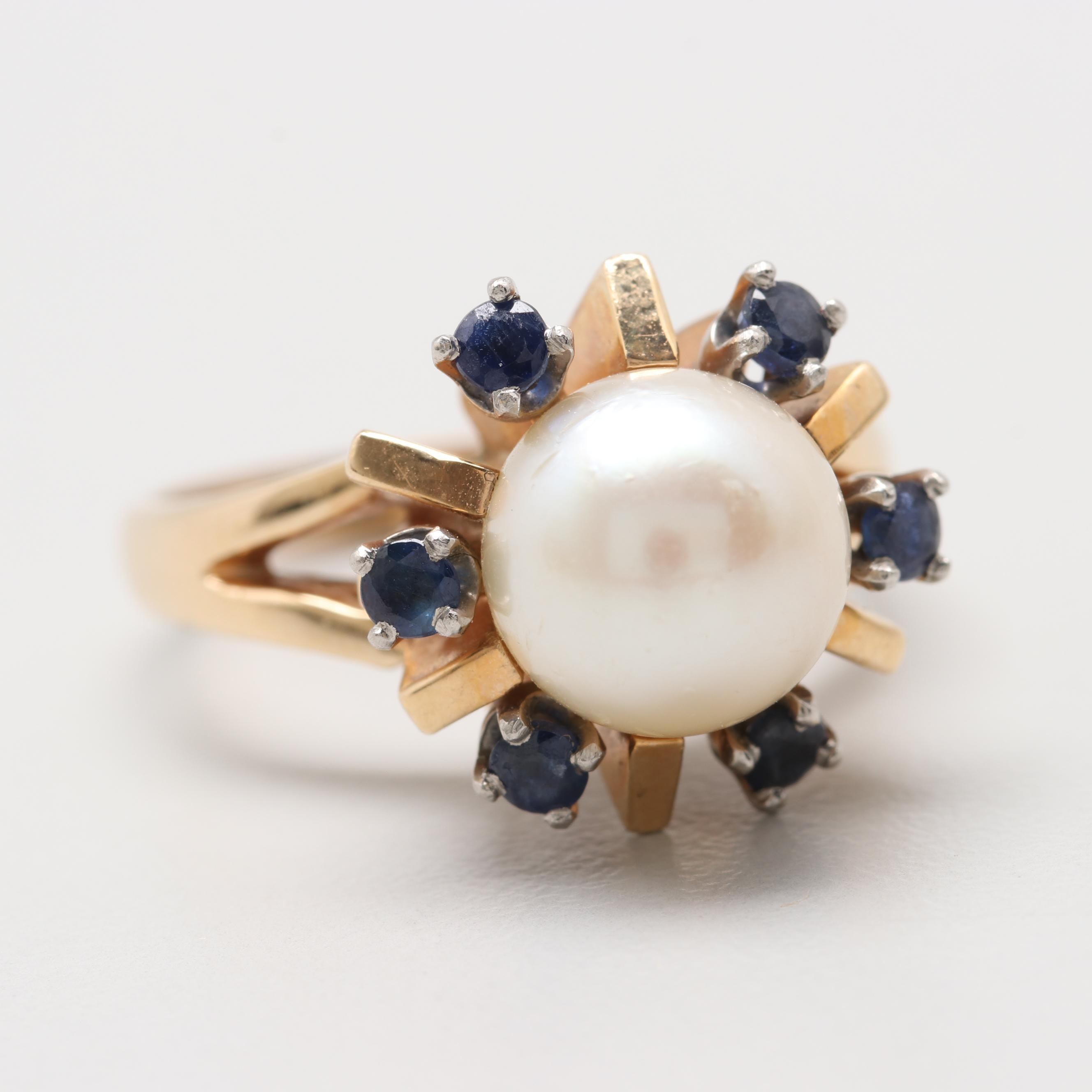 Retro Style 14K Gold Cultured Pearl and Sapphire Ring with Palladium Accents