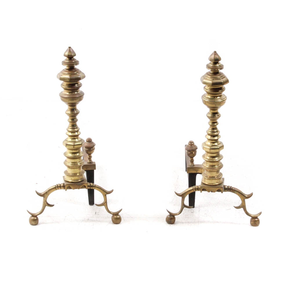 Vintage Solid Brass Fireplace Andirons