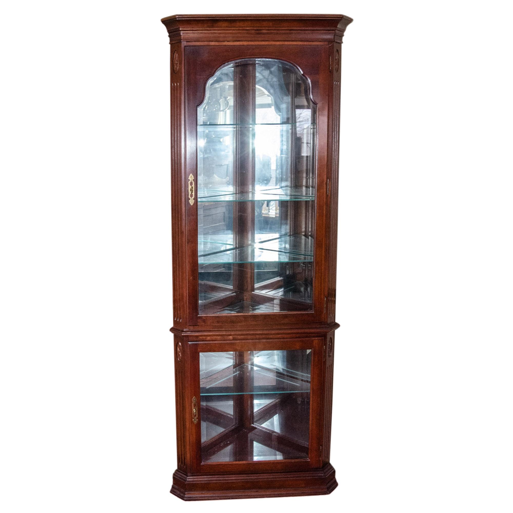 Ethan Allen Illuminated Corner Curio Cabinet
