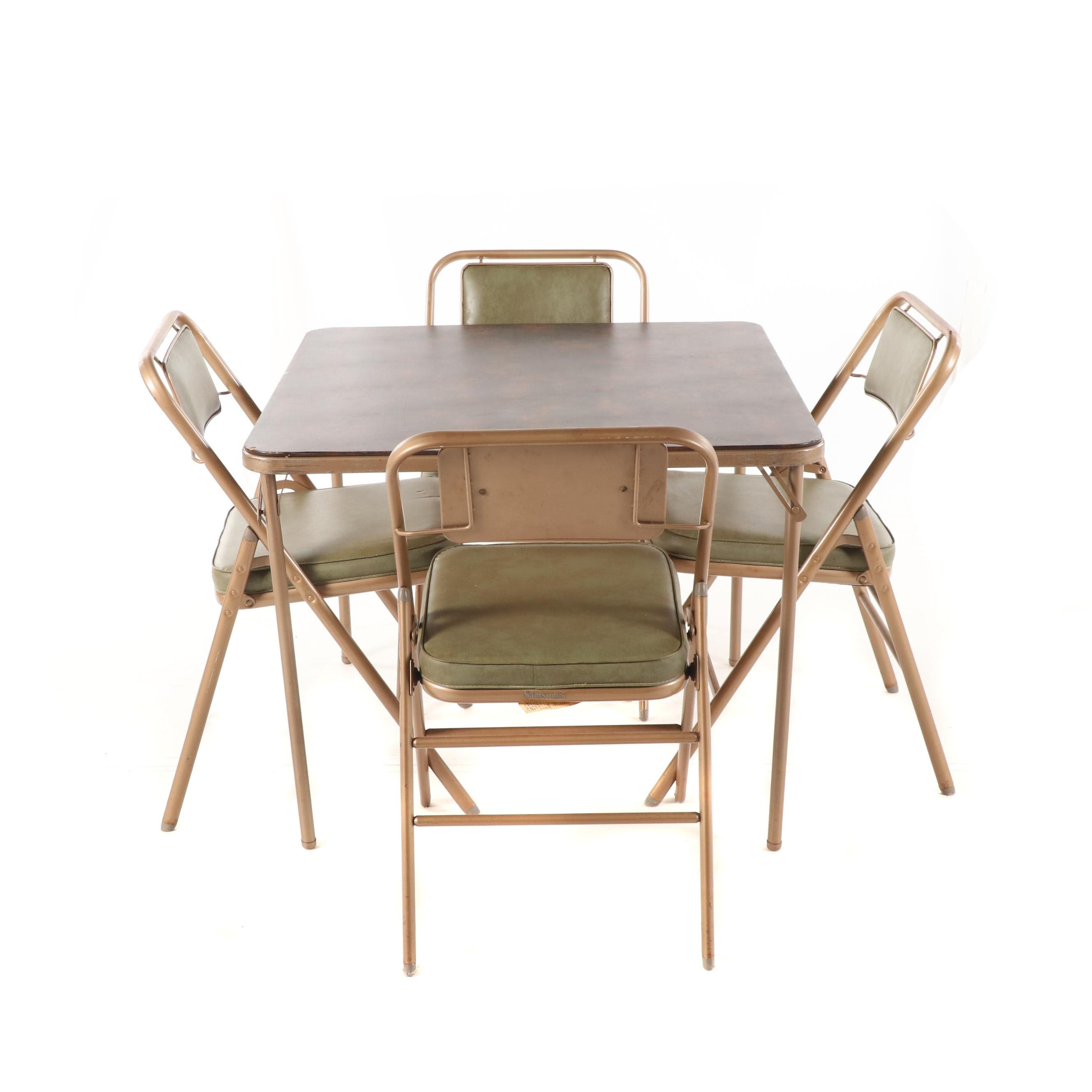 Metal Frame Vinyl Upholstered Folding Table and Chairs by Samsonite, 20th C.
