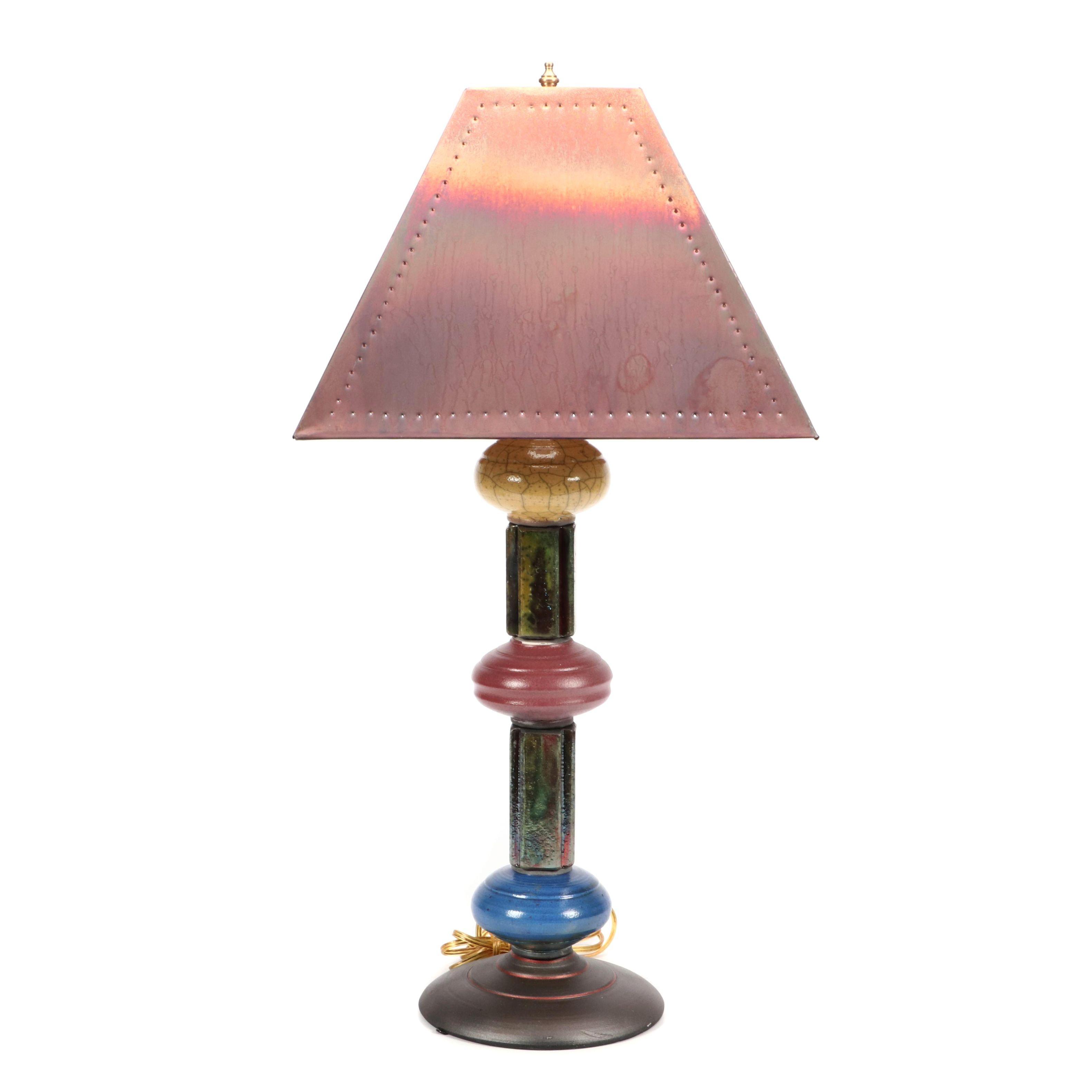 Wheel Thrown Raku Fired Stoneware Table Lamp with Kohler Copper Shade