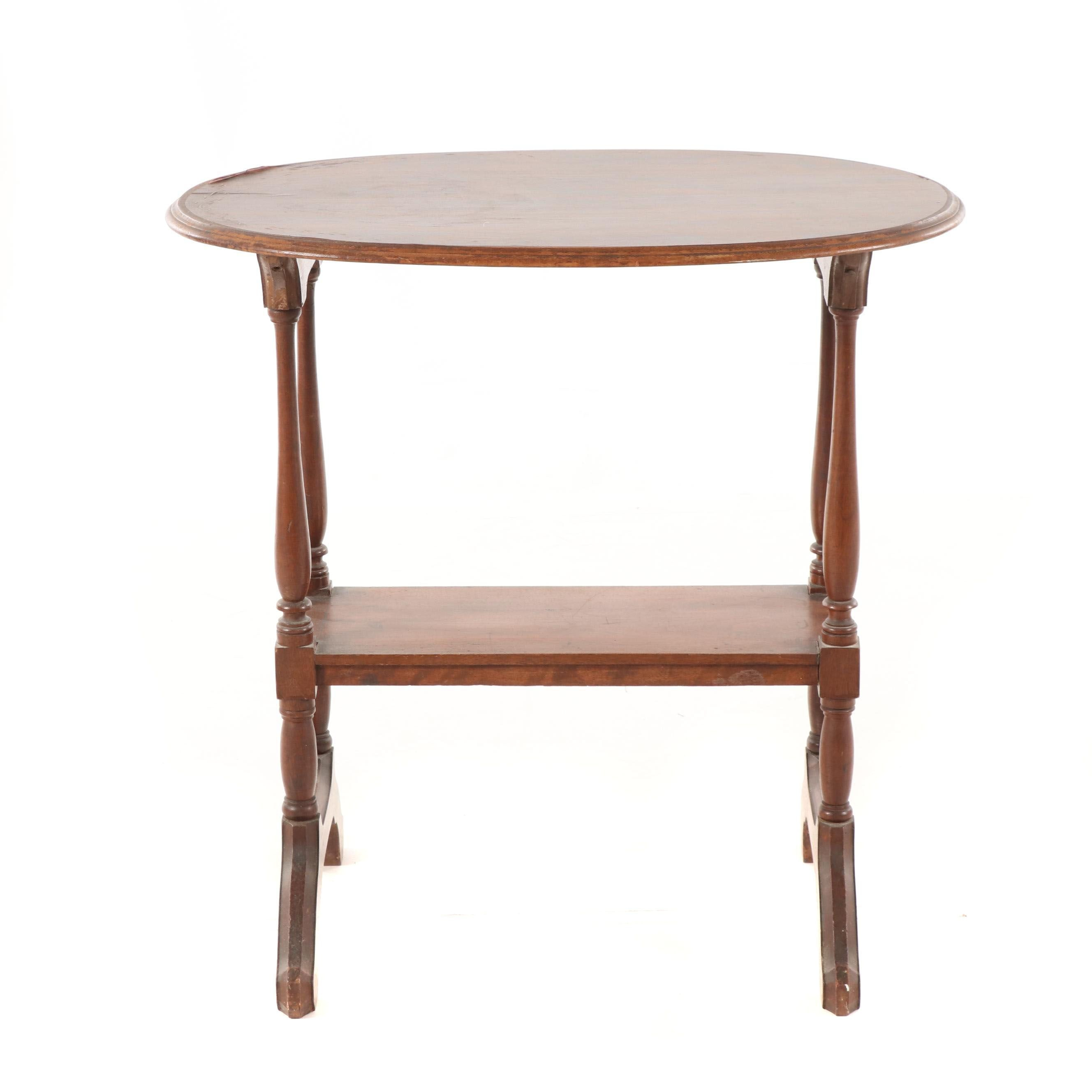 Federal Style Mahogany Two-Tier Side Table, Mid-20th Century