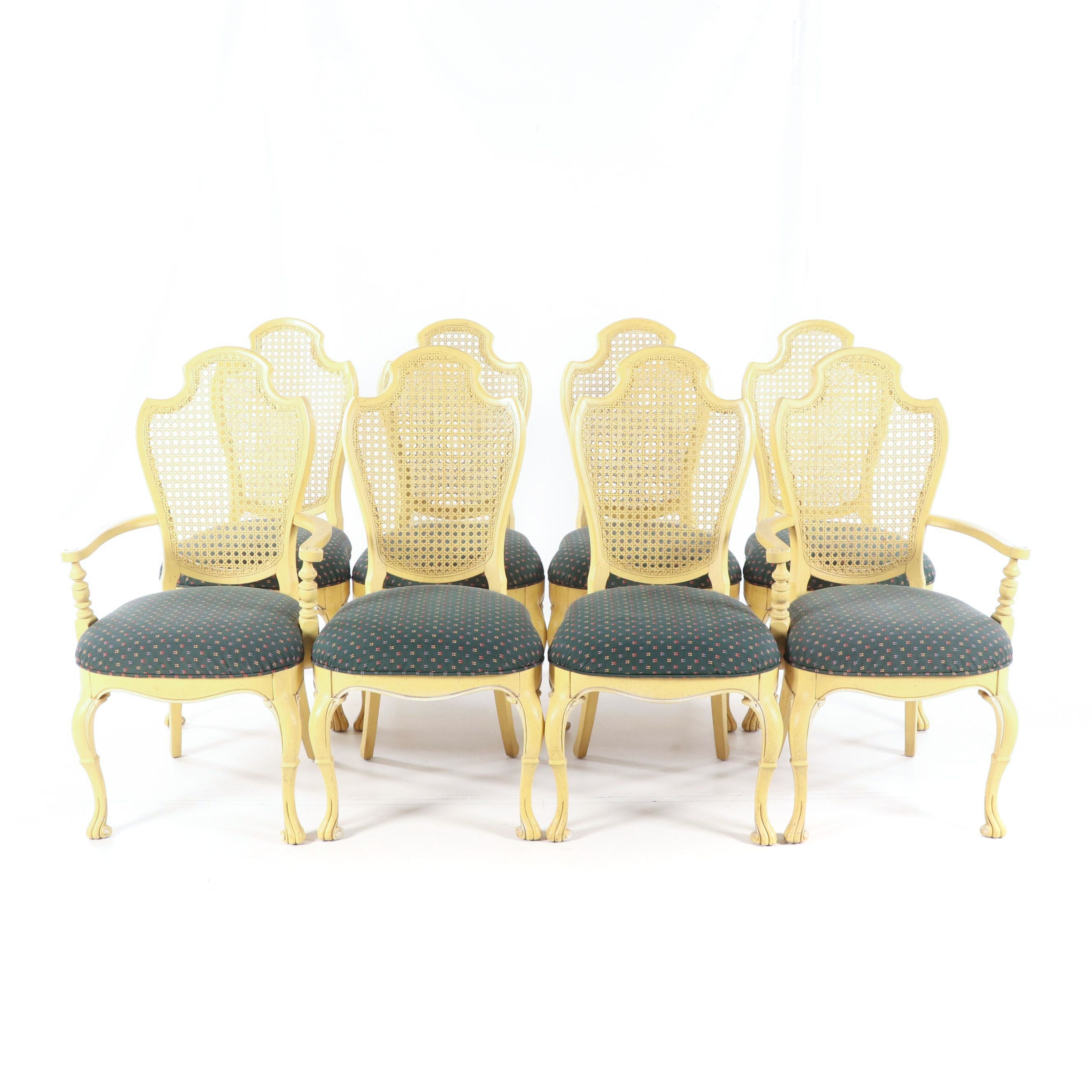 French Style Painted Wood Dining Chairs Set, Late 20th Century