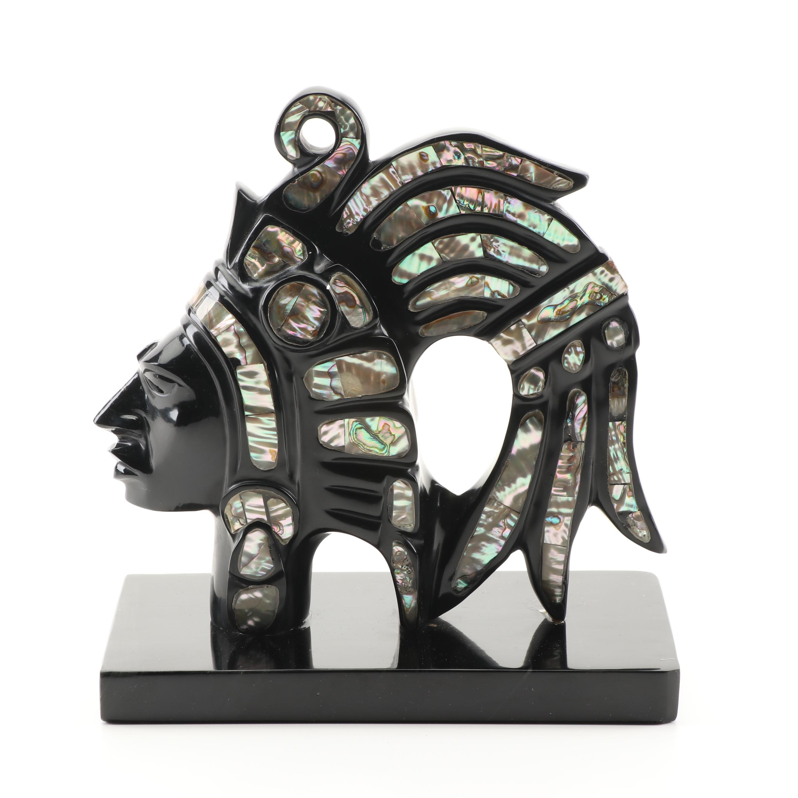 Central American Style Stone Sculpture with Abalone Inlay