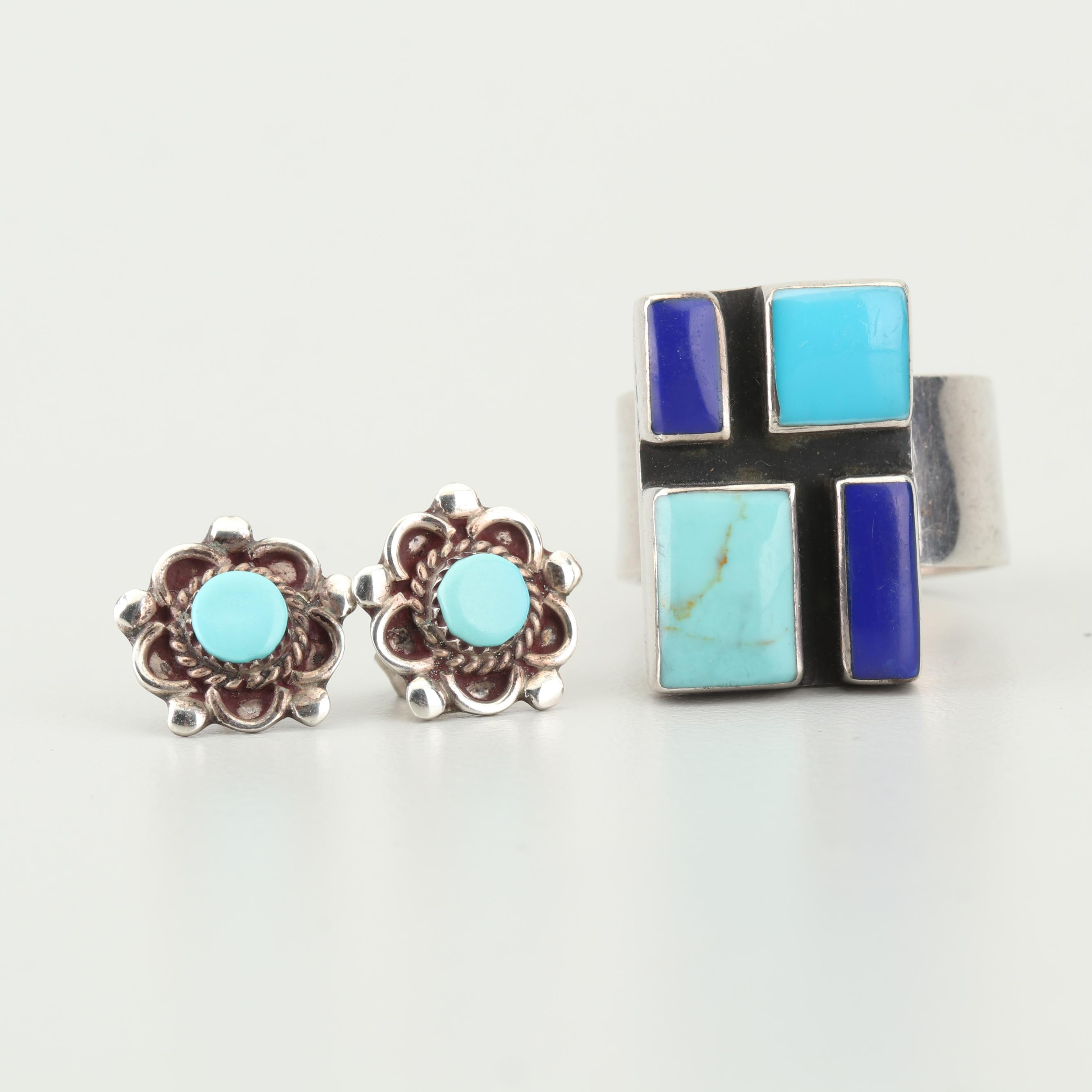 Sterling Silver Turquoise and Lapis Lazuli Ring and Sterling Turquoise Earrings