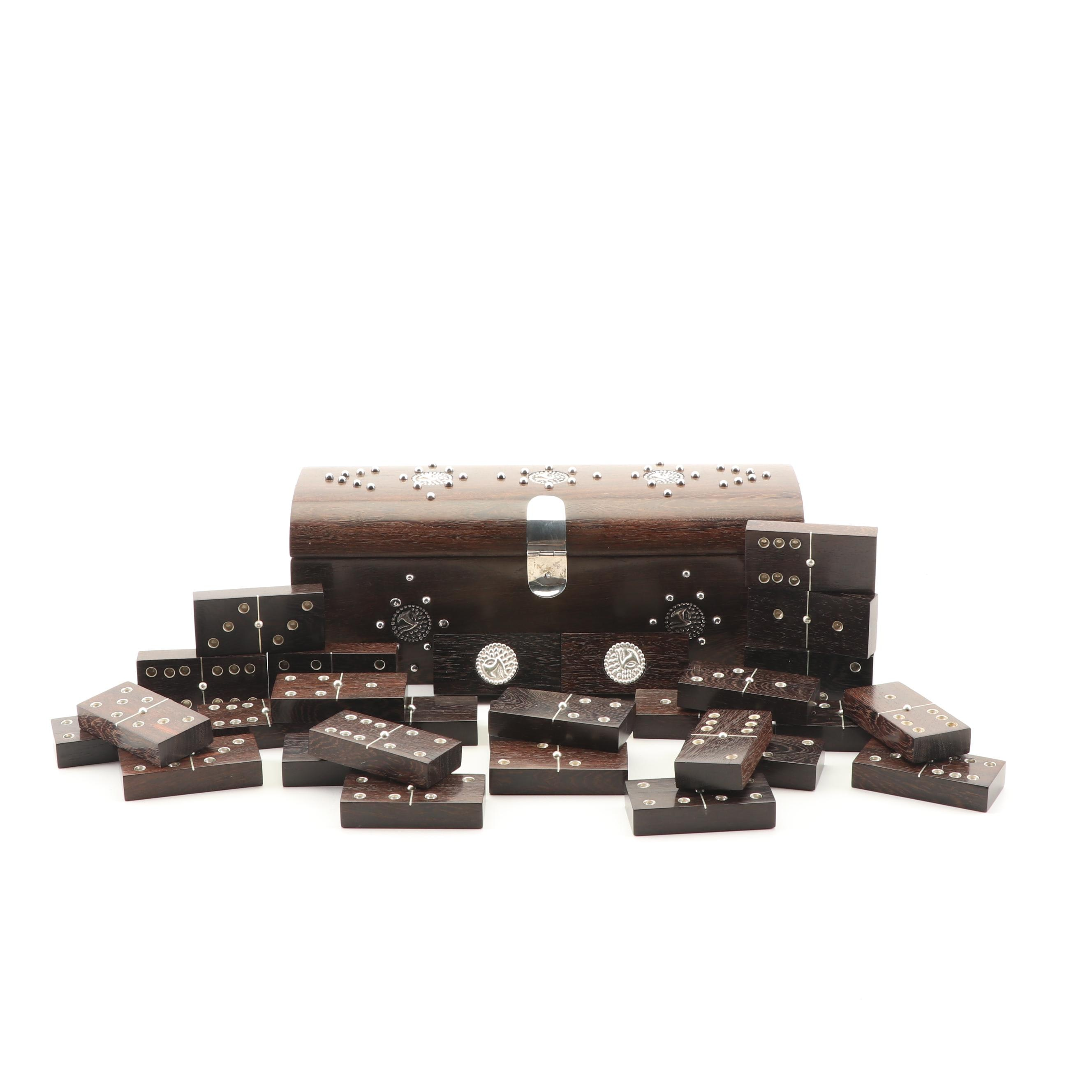 Mexican Sterling Silver Inlaid Hardwood Travel Domino Set