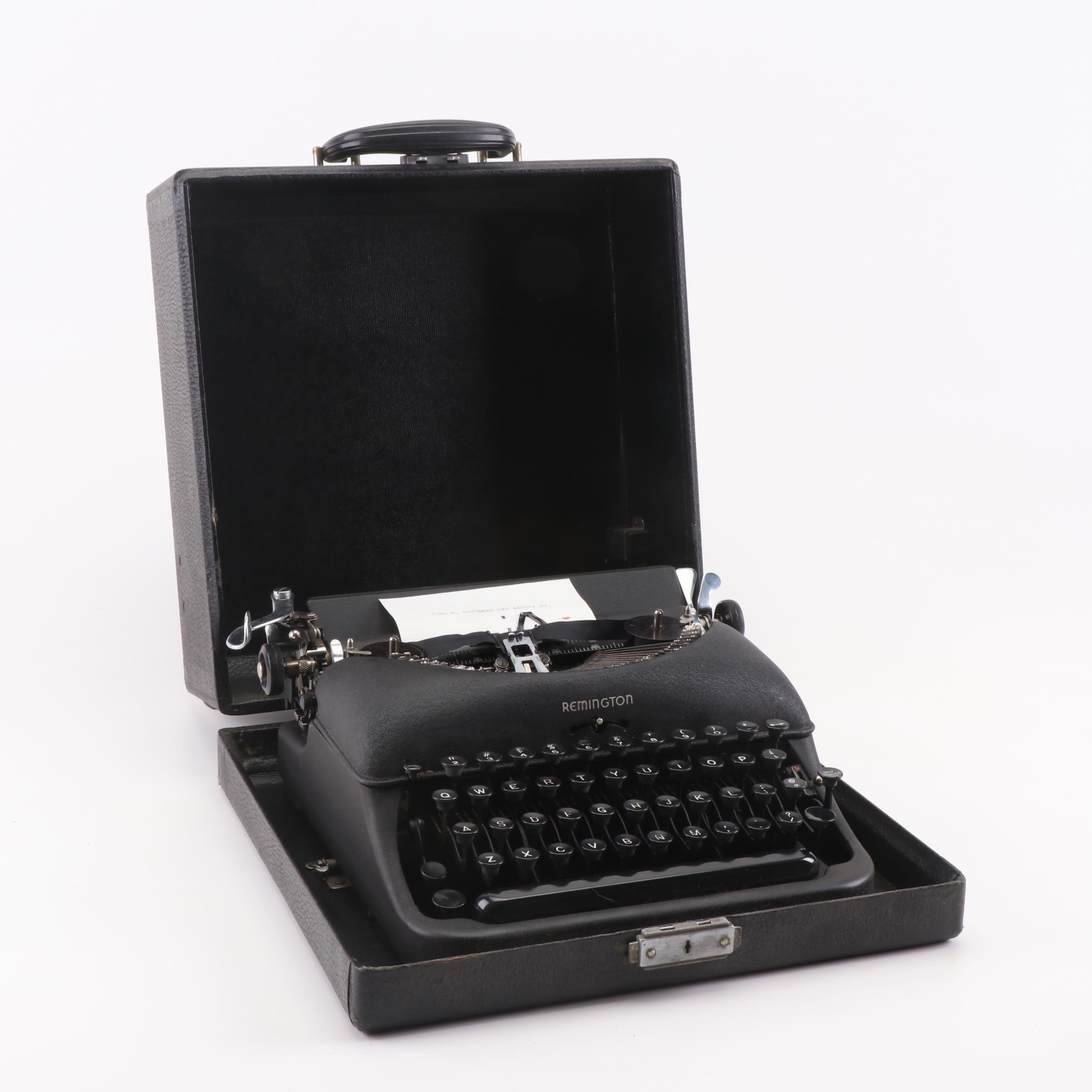 Remington De Luxe Model 5 Typewriter with Case, 1940s