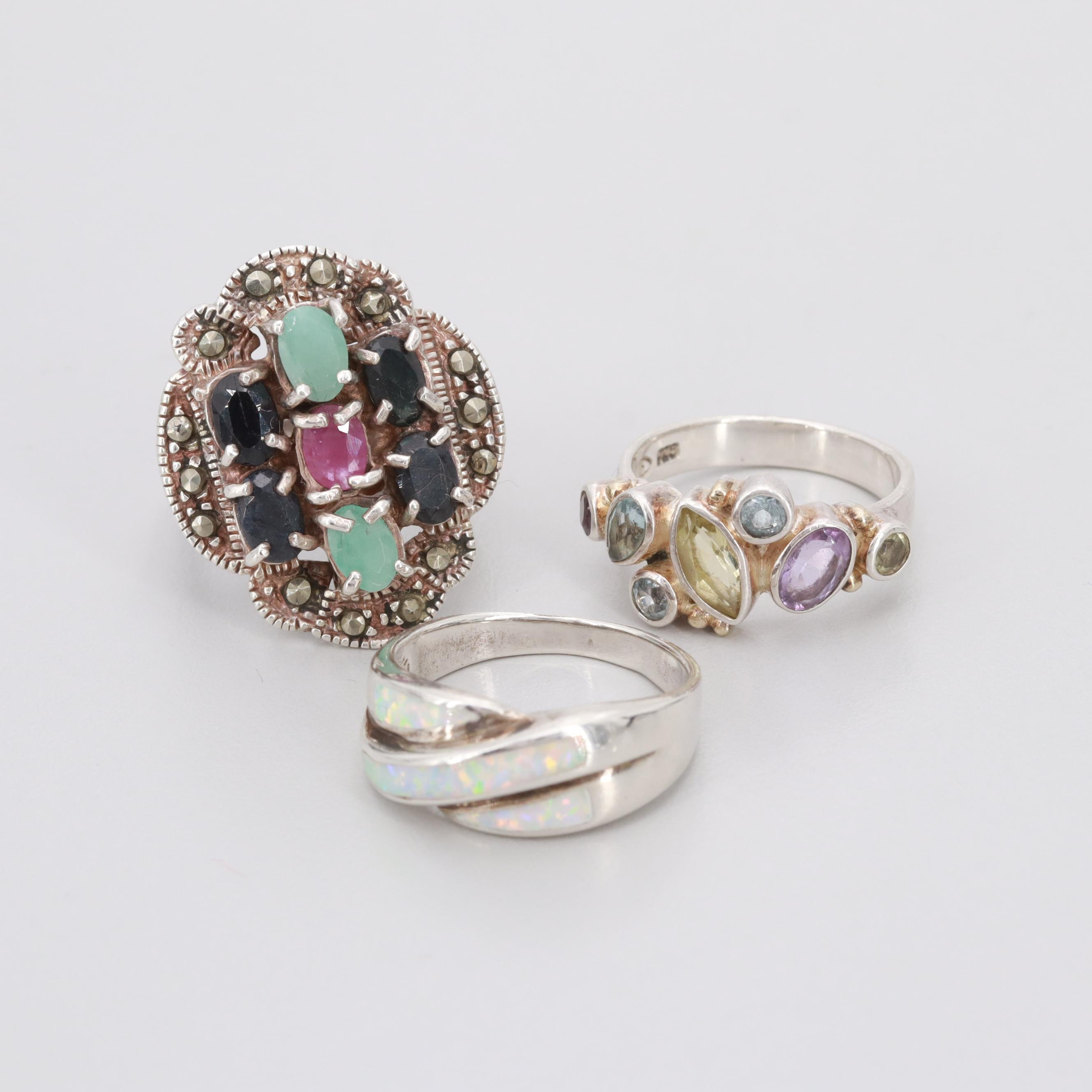 Assorted Sterling Silver Amethyst, Blue Sapphire and Imitation Opal Rings