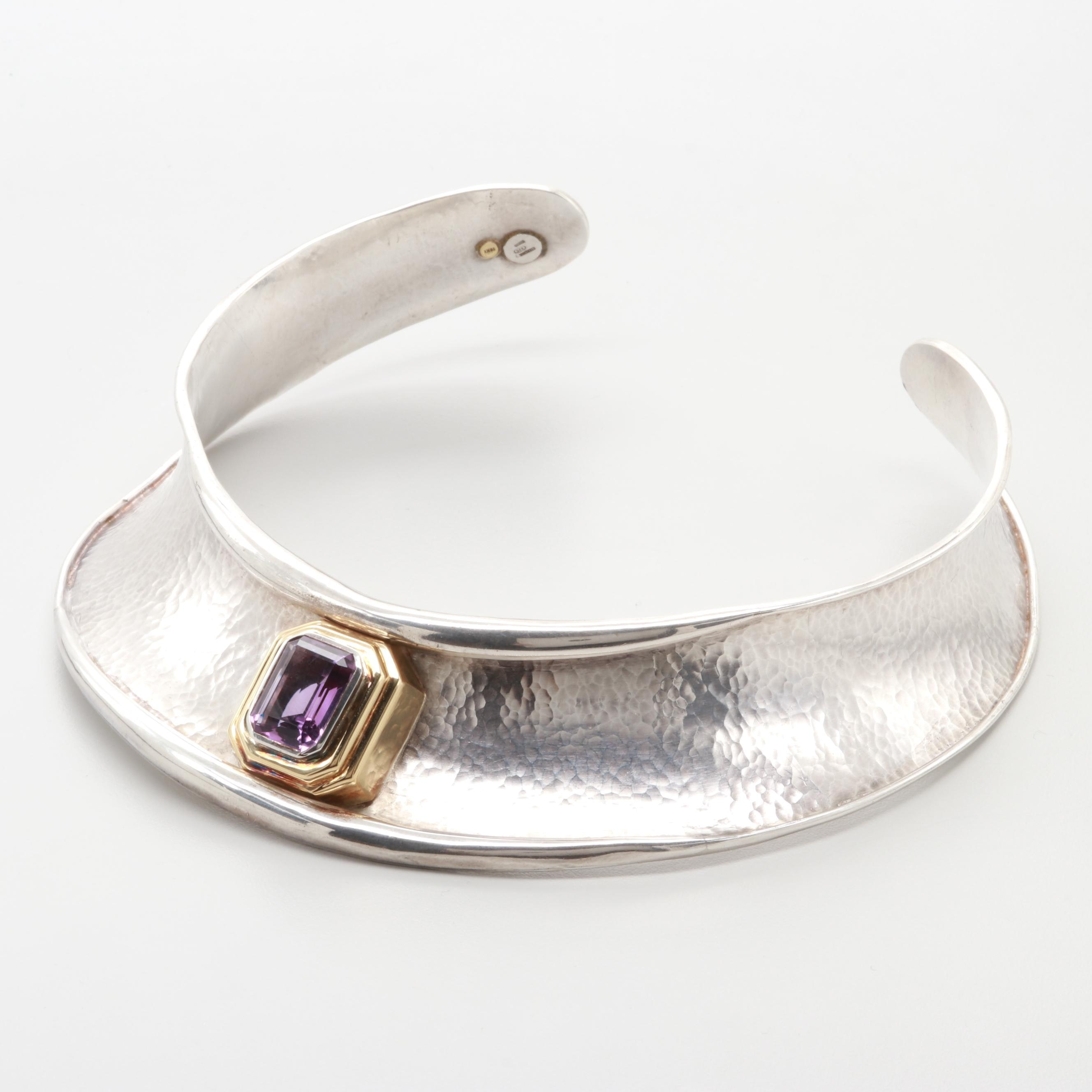 Italian Sterling Silver 9.48 CT Amethyst Necklace with 18K Yellow Gold Accents