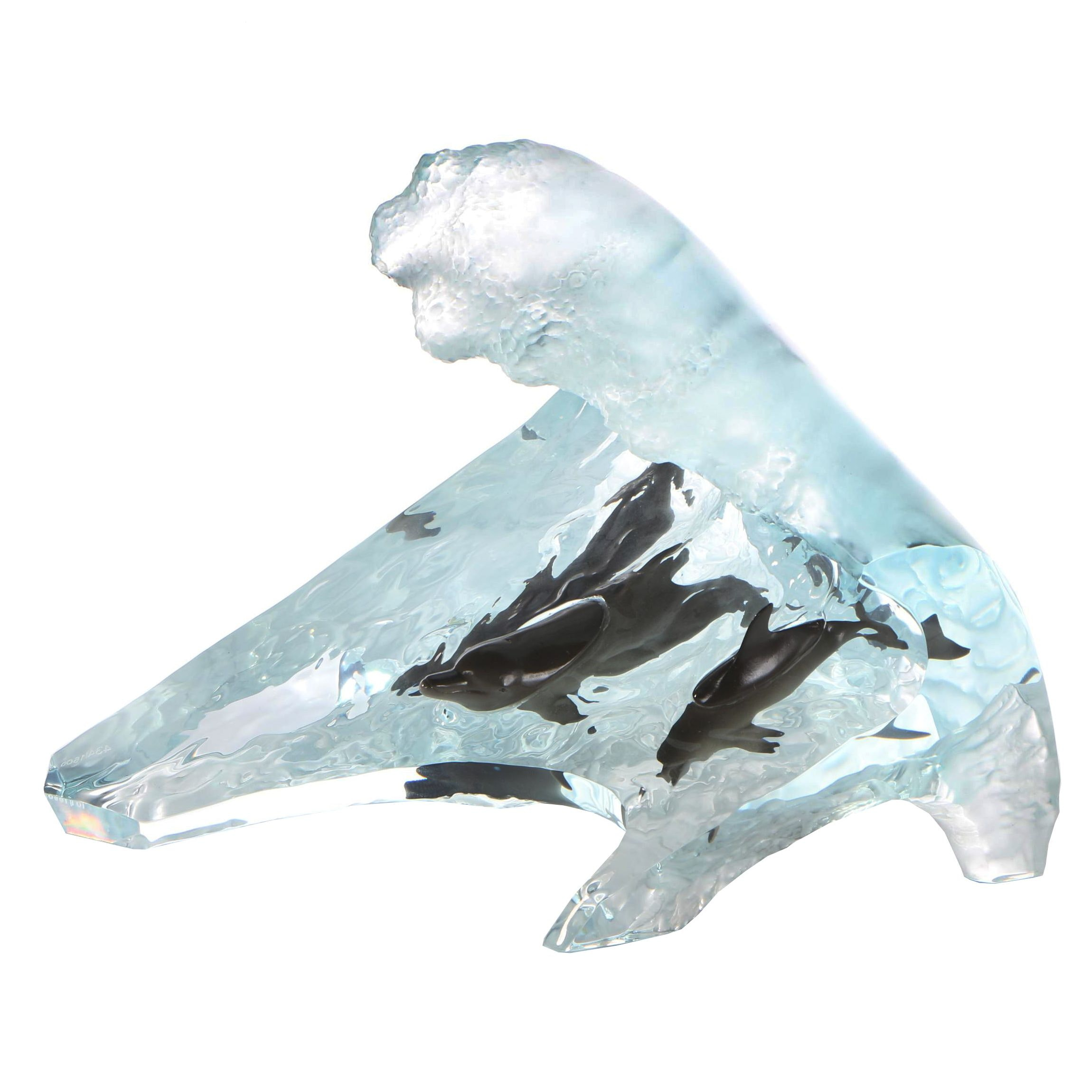 "Robert Wyland Lucite Sculpture Limited Edition ""Surf Riders"""