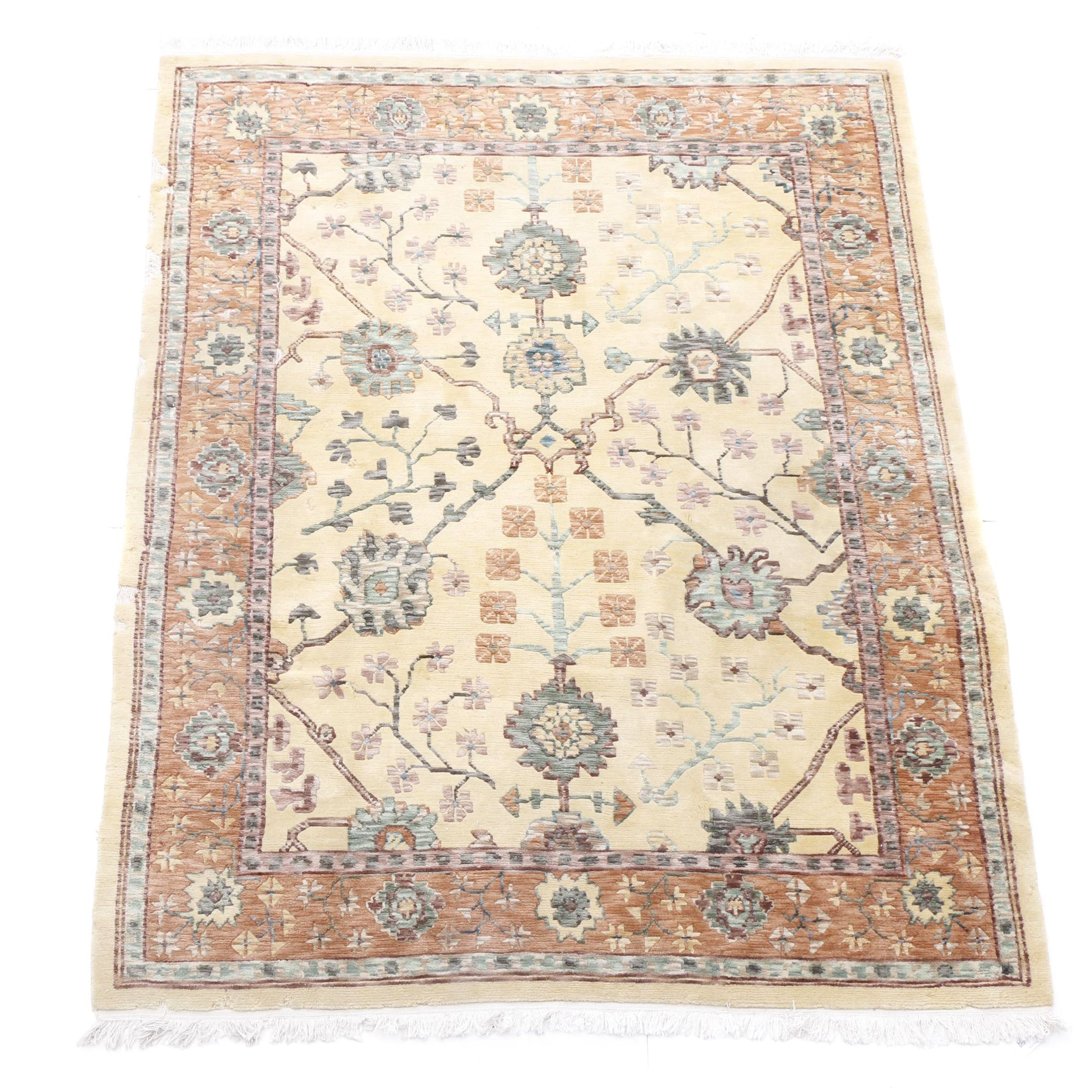Hand-Knotted Indo-Turkish Wool Rug